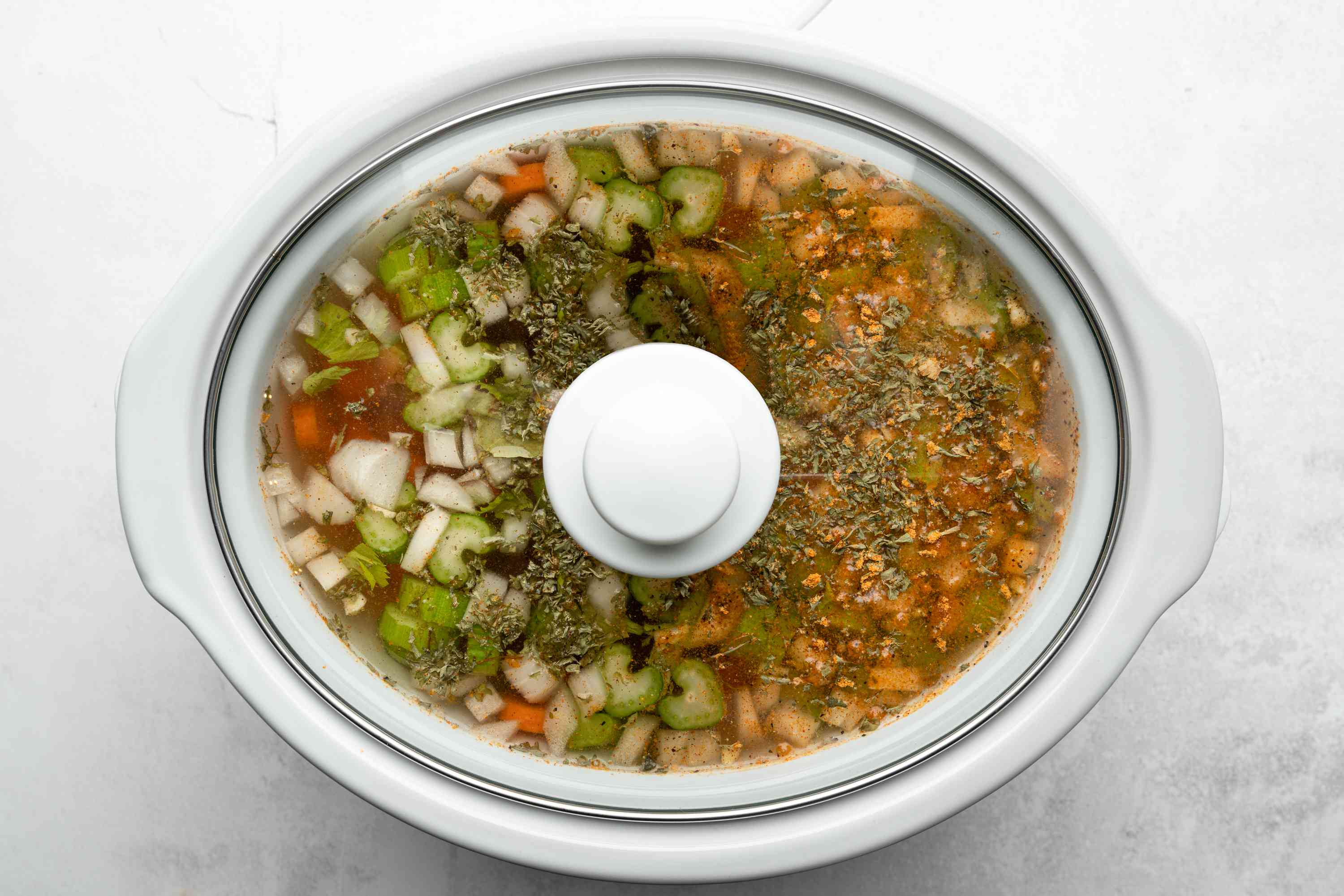 French Canadian-Style Crock Pot Split Pea Soup cooking in a slow cooker