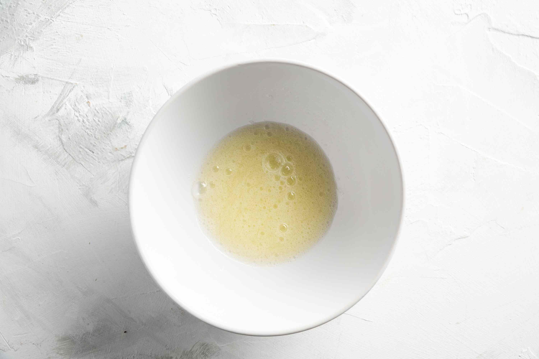 egg whites whisked in bowl