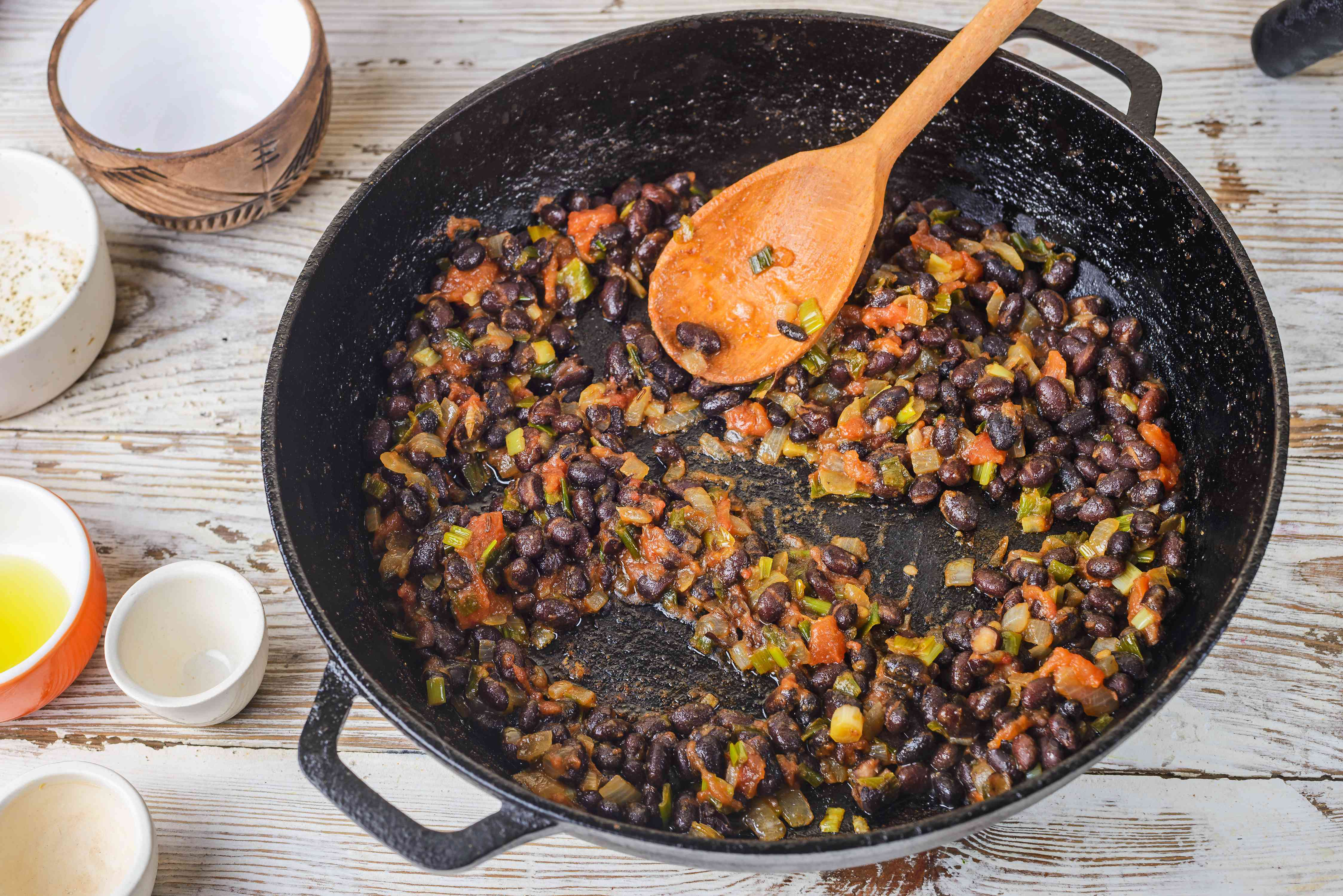 Black beans added to pan