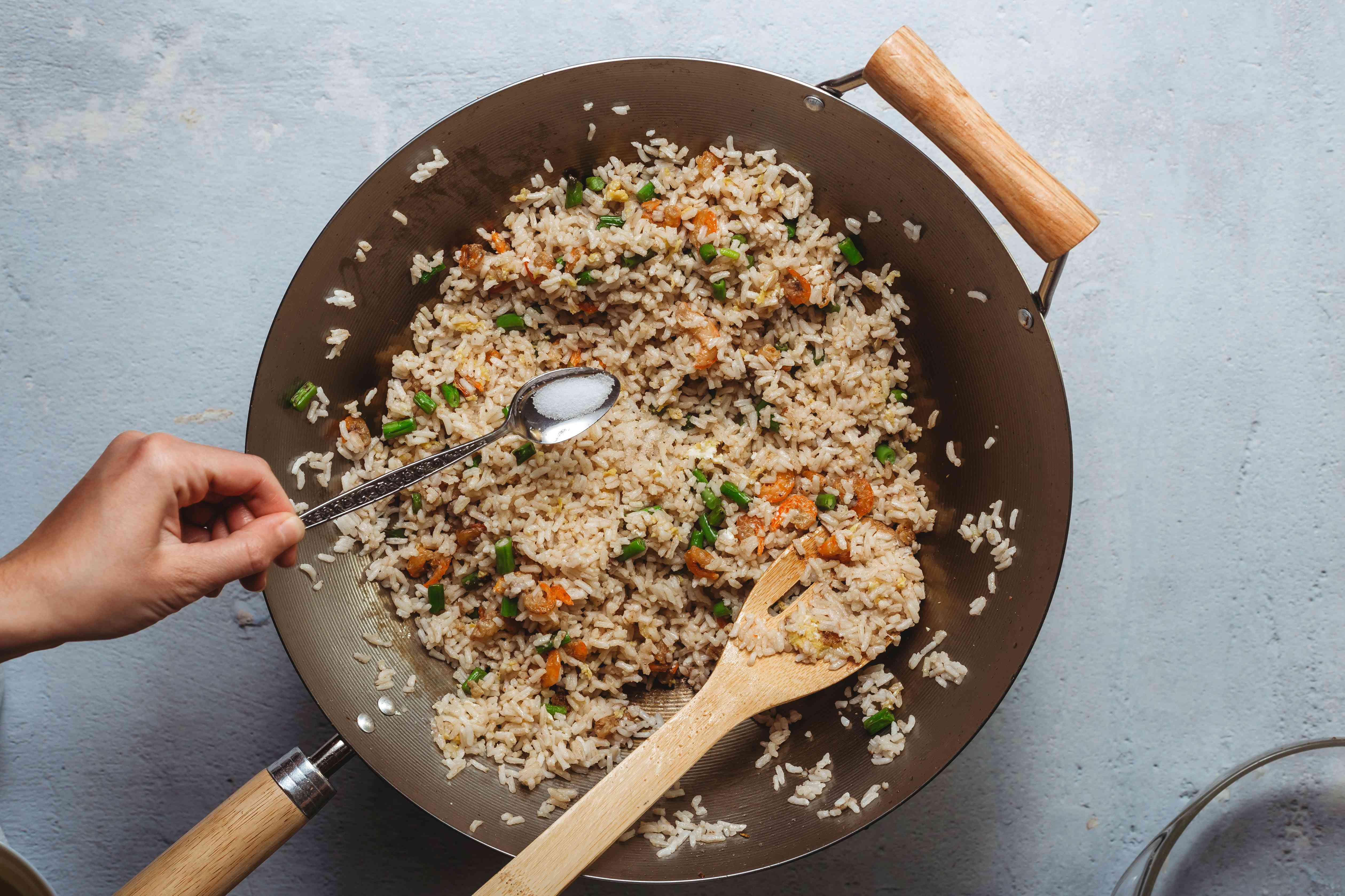 Malaysian Fried Rice With Shrimp or Belacan Recipe in a wok