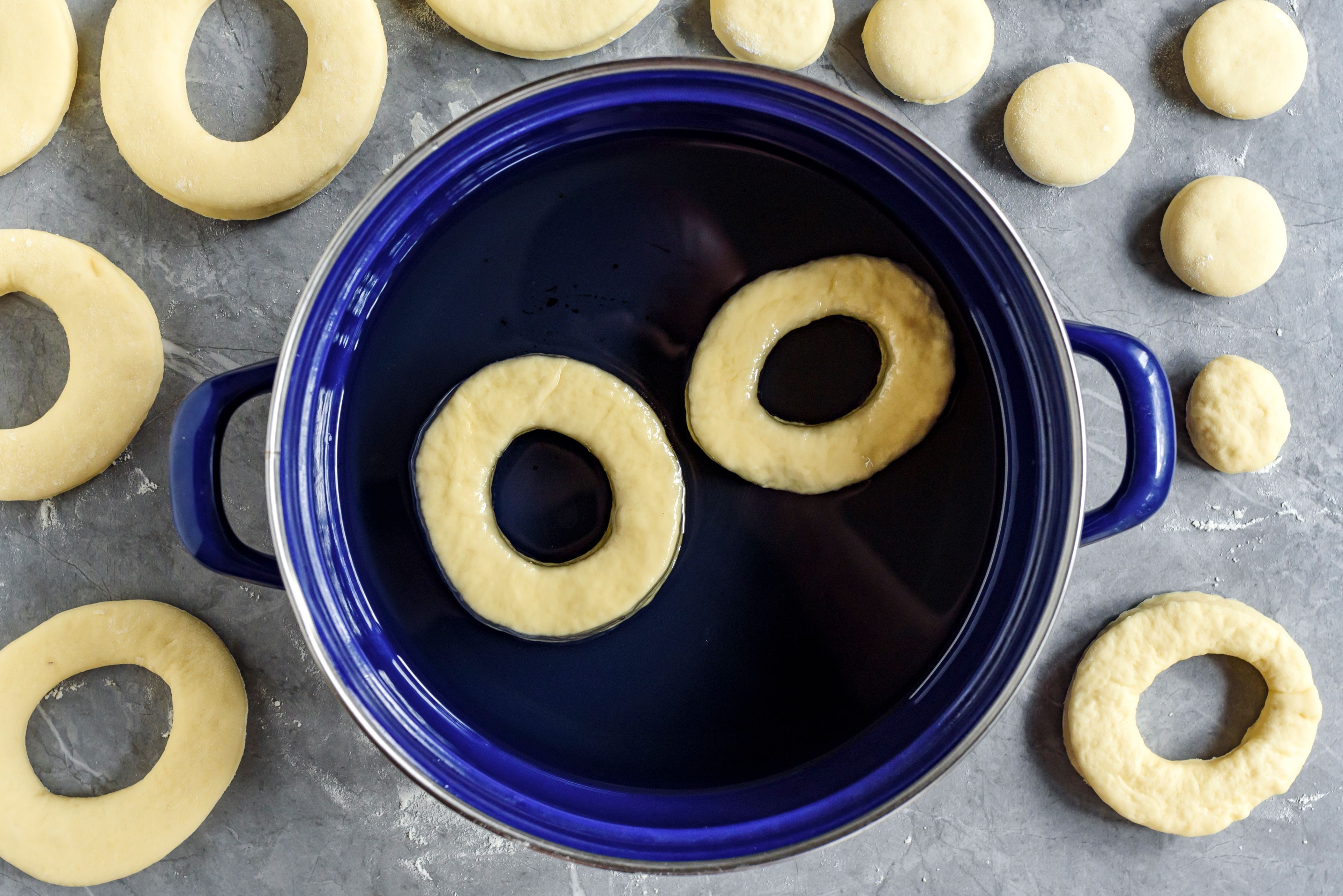 Doughnuts in cooking oil