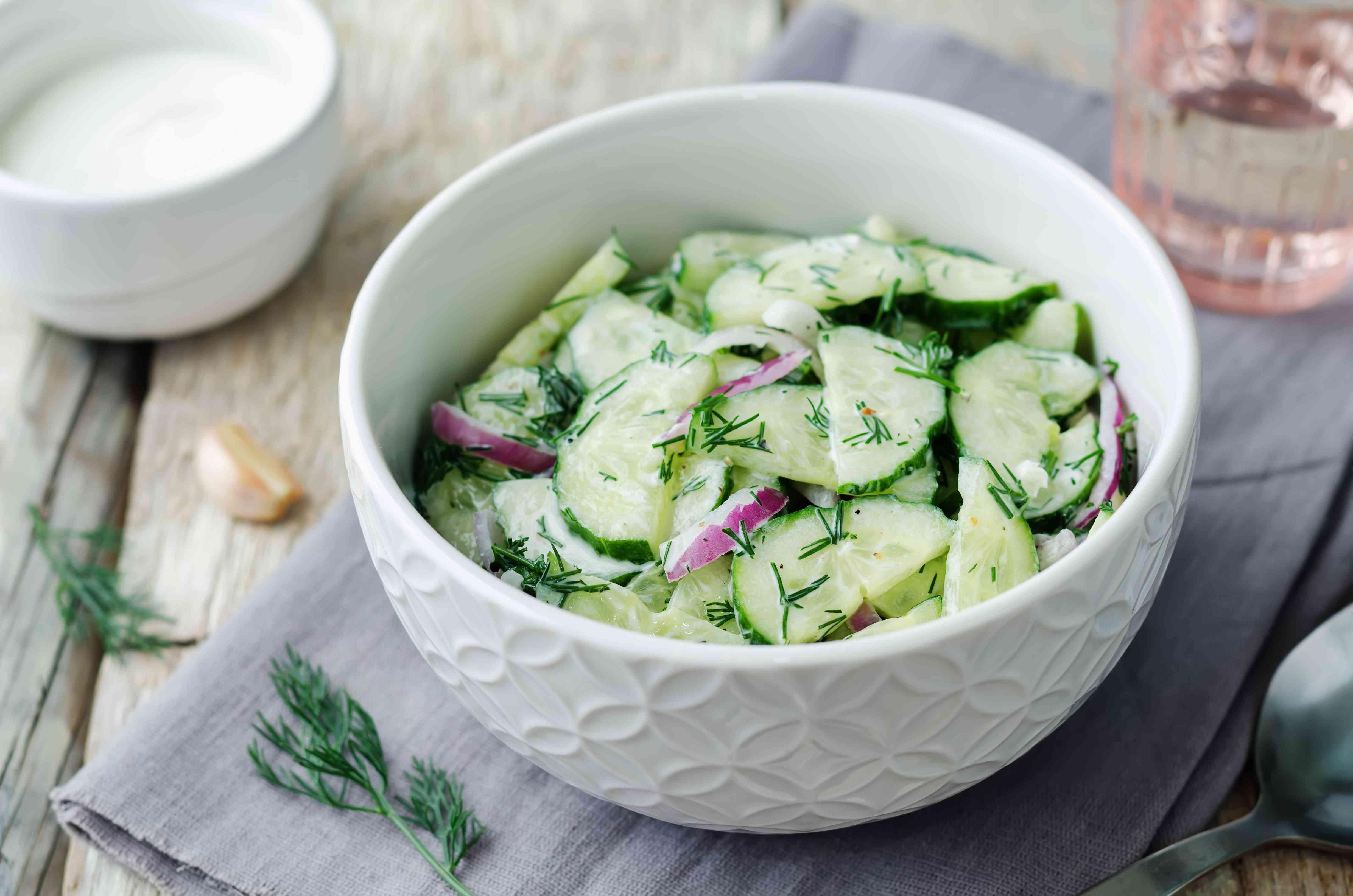 Greek yogurt red onion cucumber salad