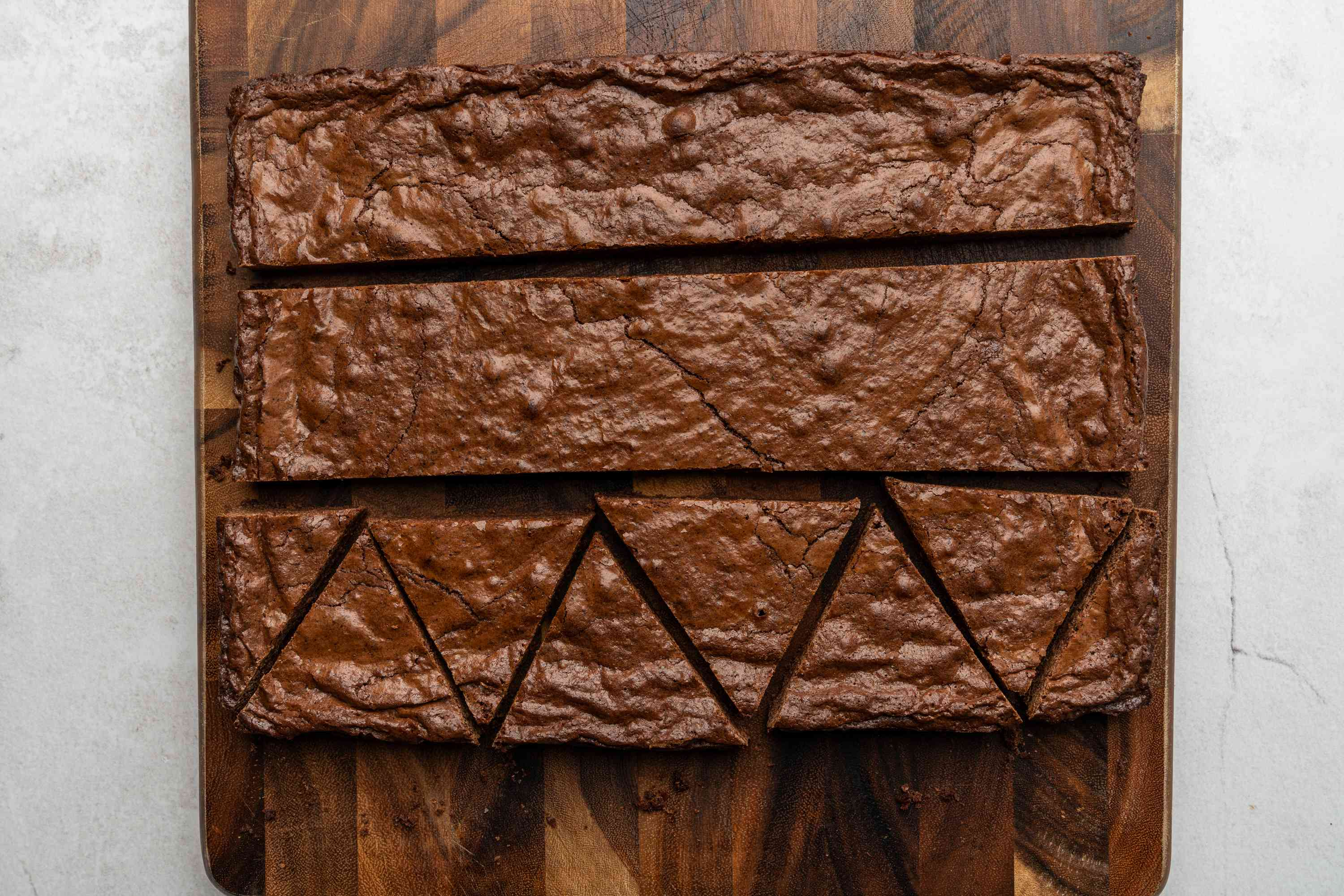 Cut brownies into tree shapes