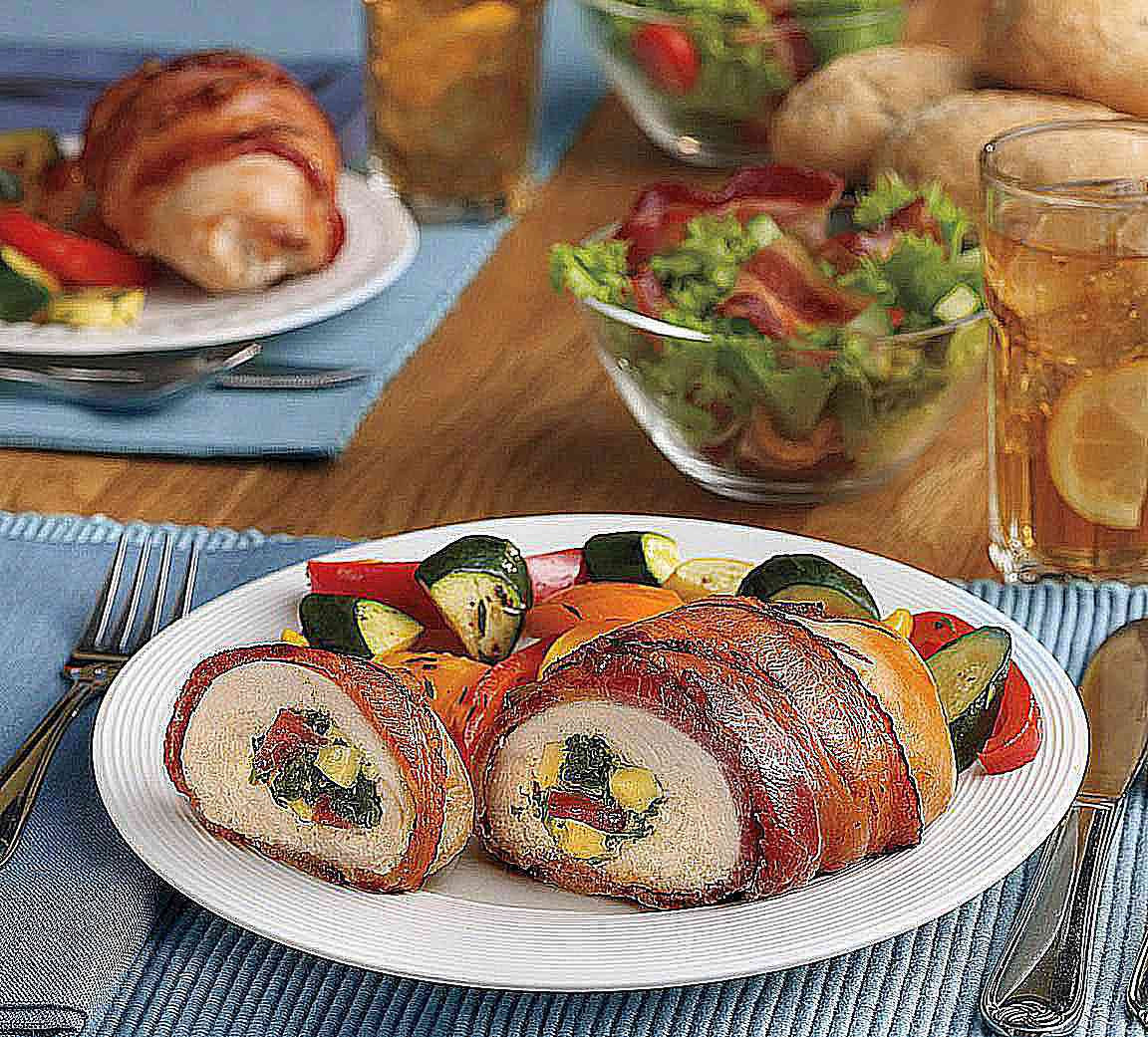 Chicken Roulade Stuffed with Smoked Bacon, Spinach, and Gouda