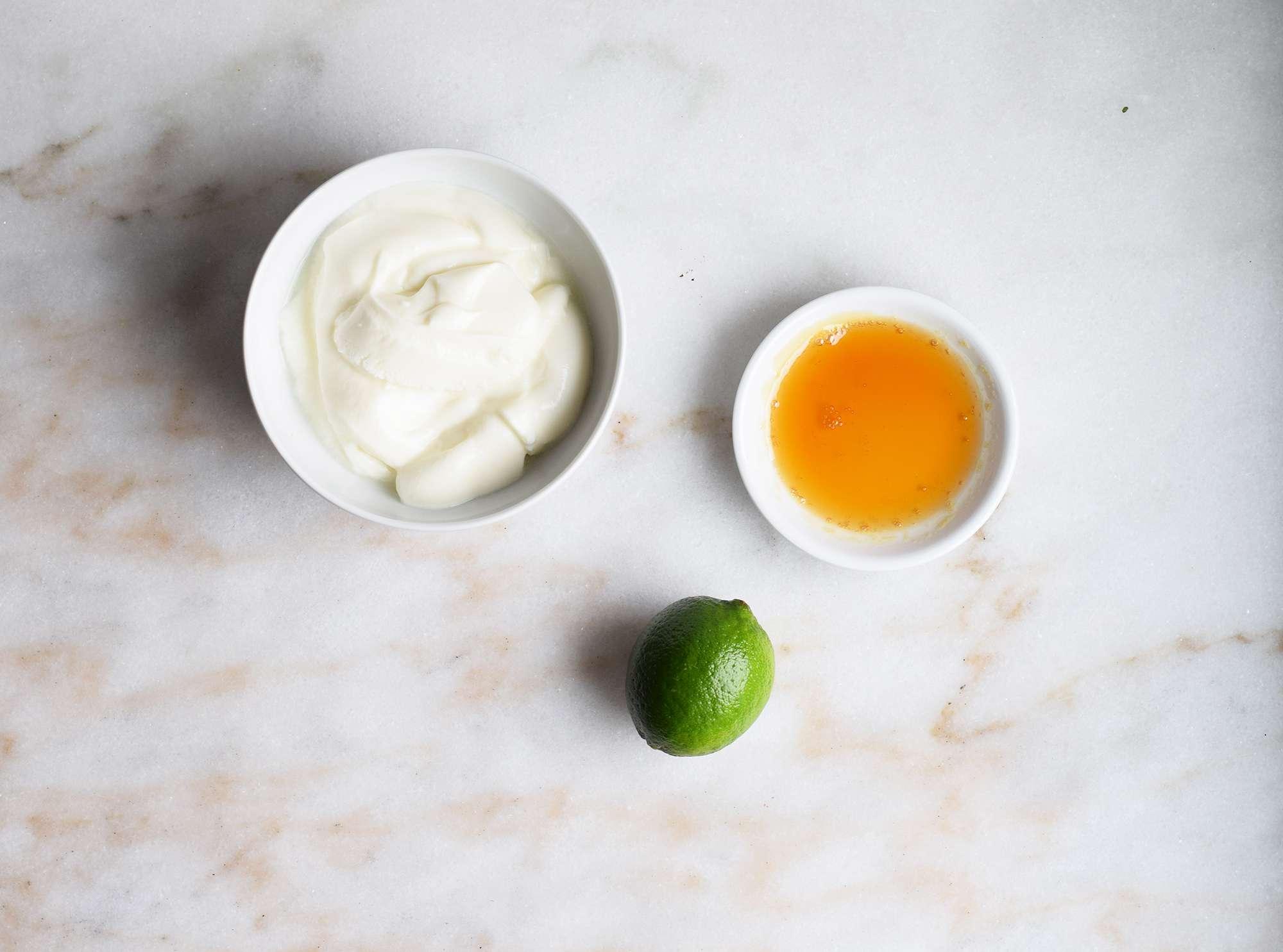 ingredients for yogurt lime dip