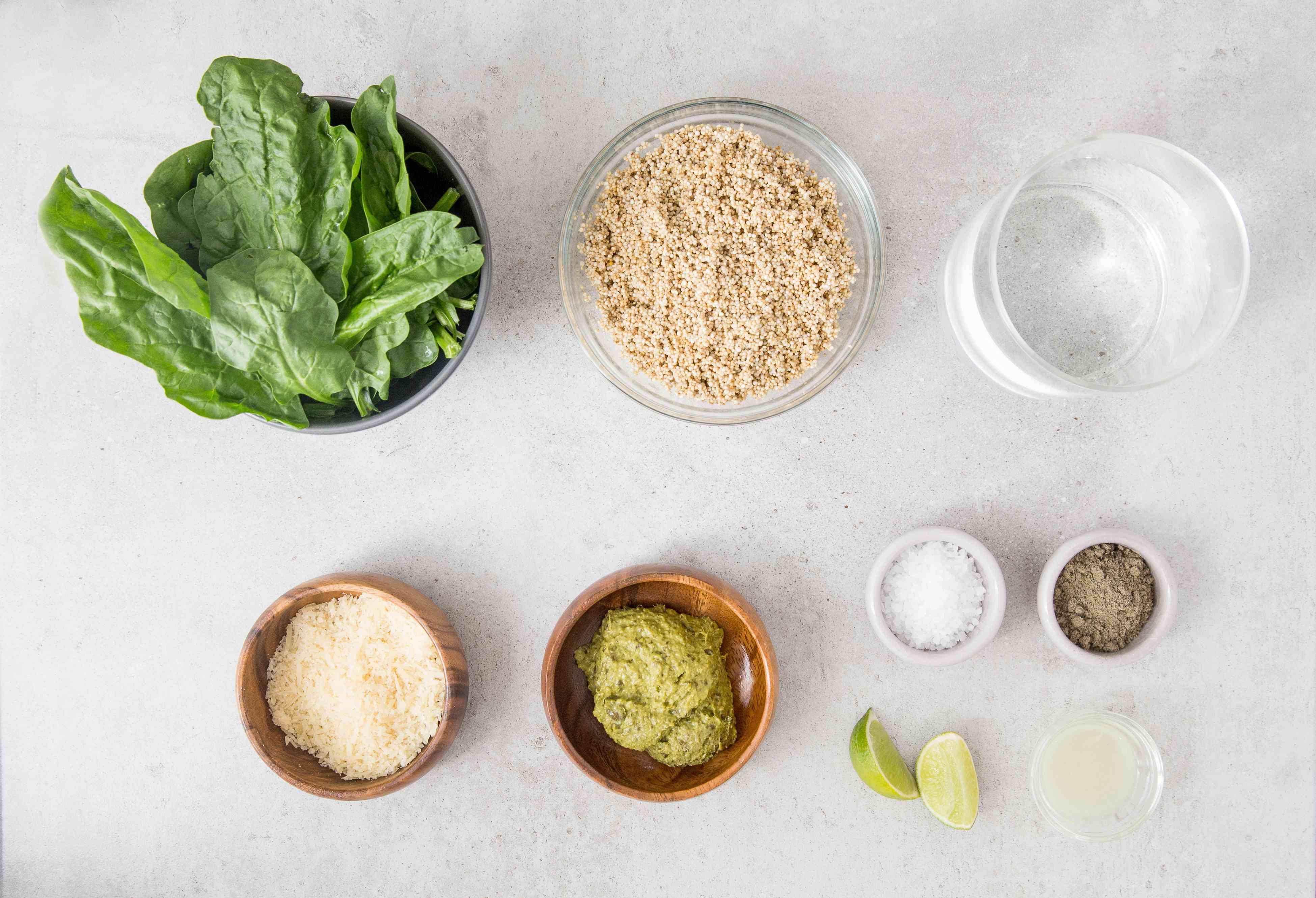 Ingredients for quinoa with pesto