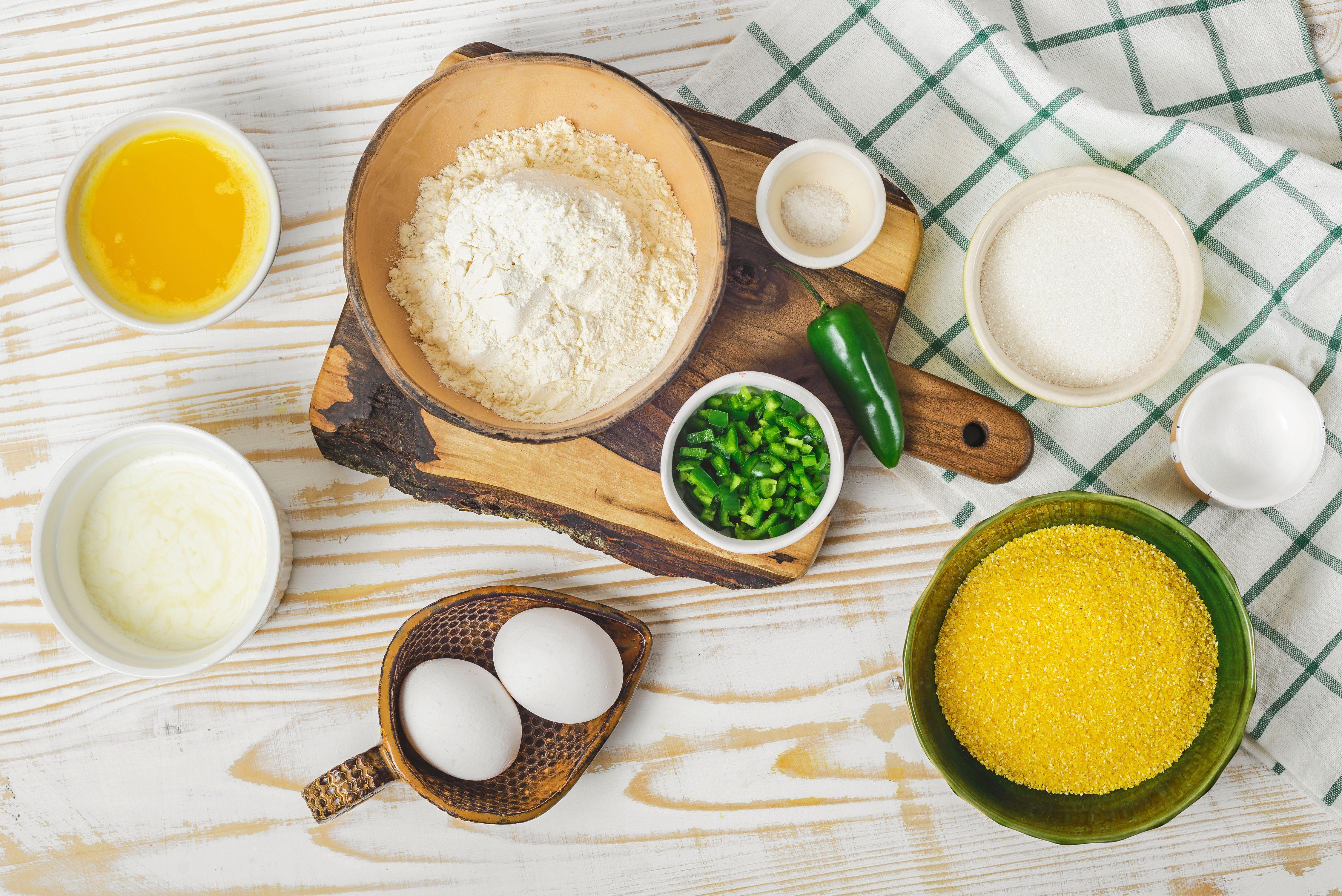 Ingredients for buttermilk jalapeno cornbread