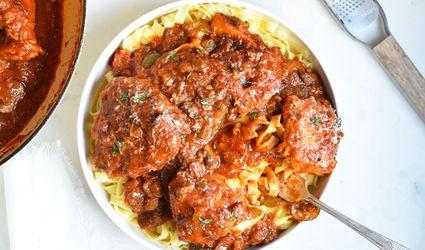 Chicken cacciatore over pasta