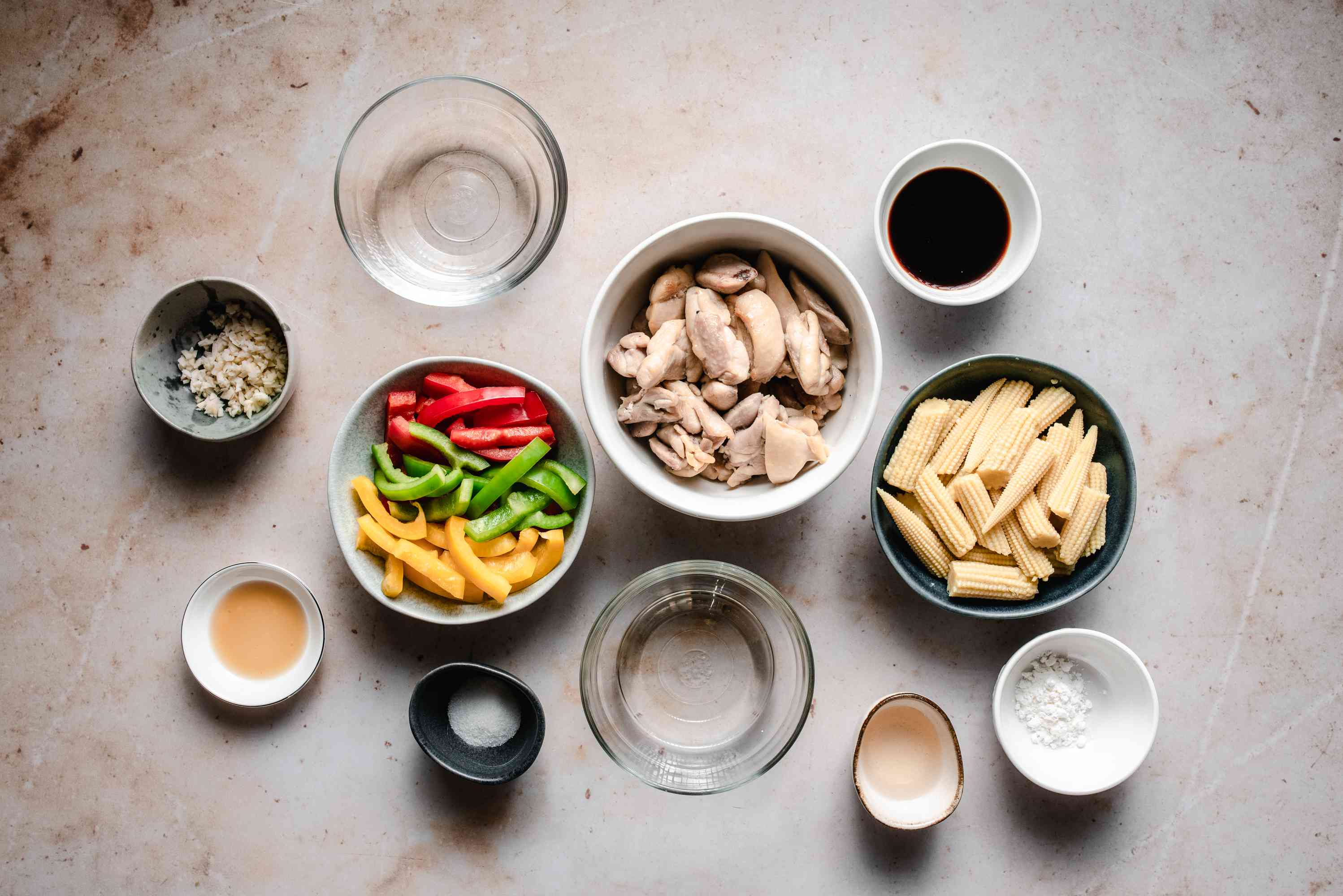 Ingredients for chicken stir fry with bell peppers