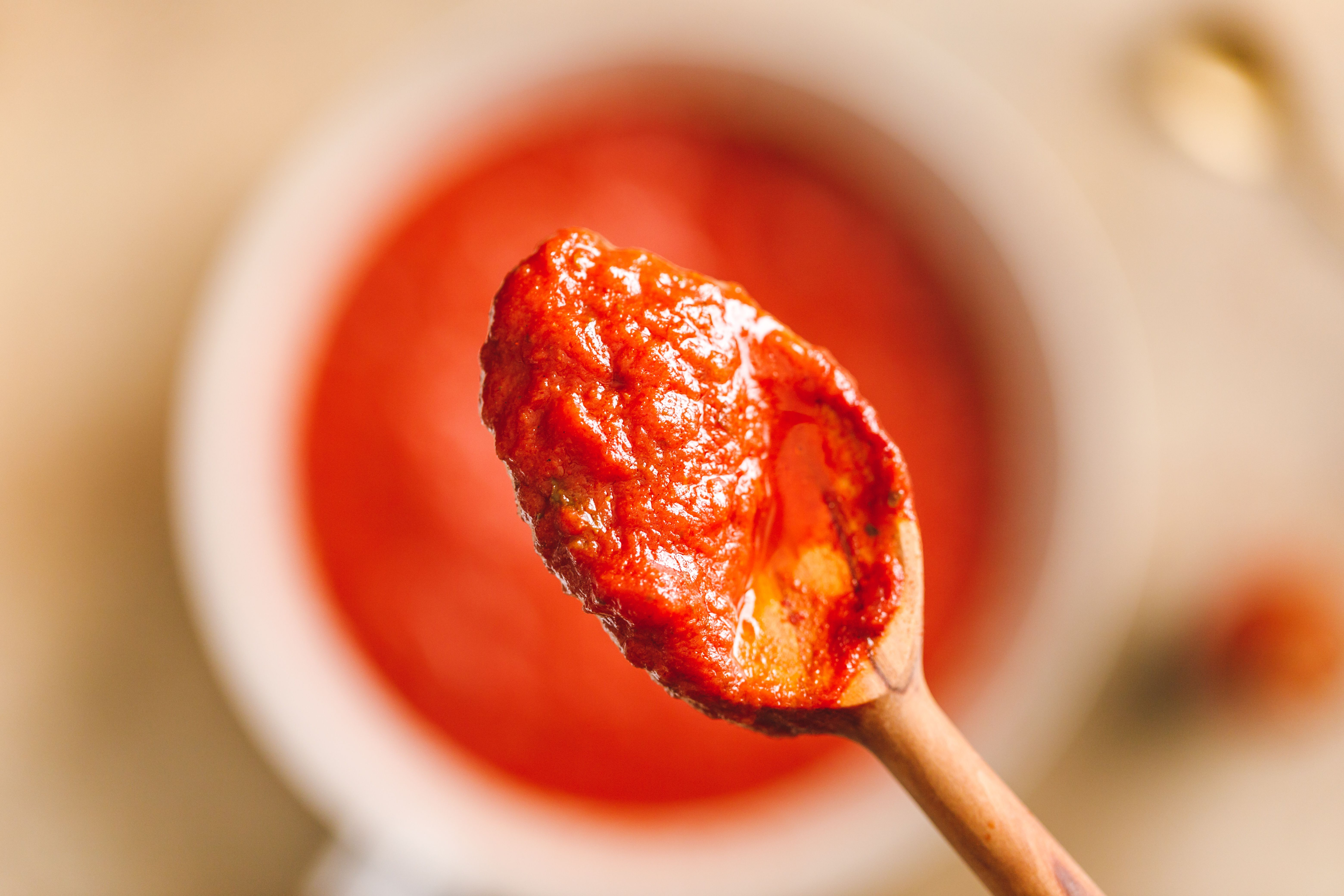Sauce on spoon