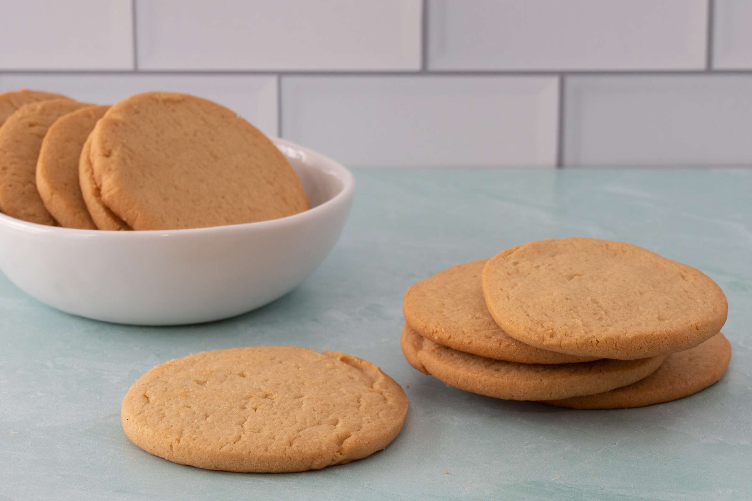 Peanut butter cookies in a bowl.