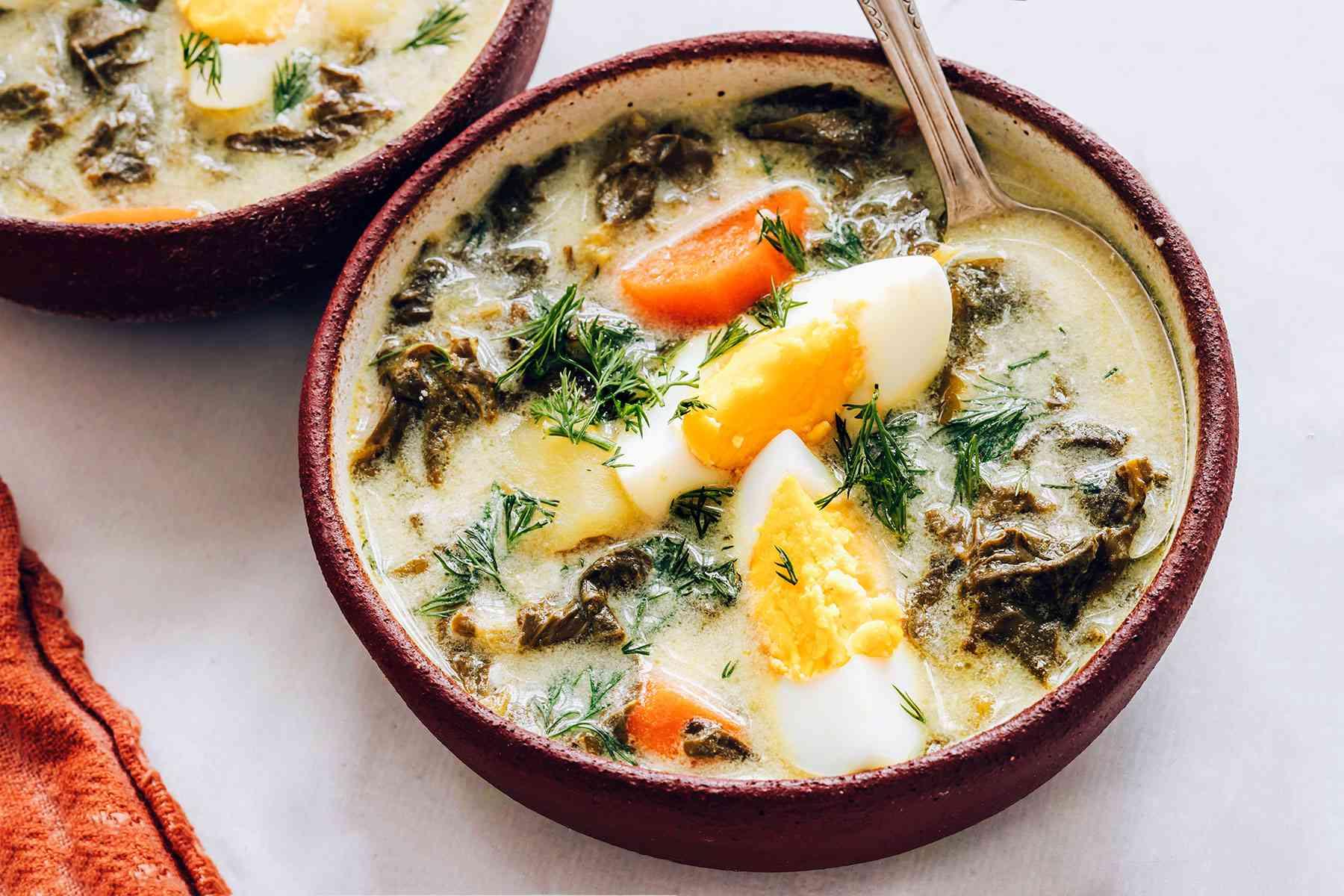 Polish Sorrel Soup served in a bowl