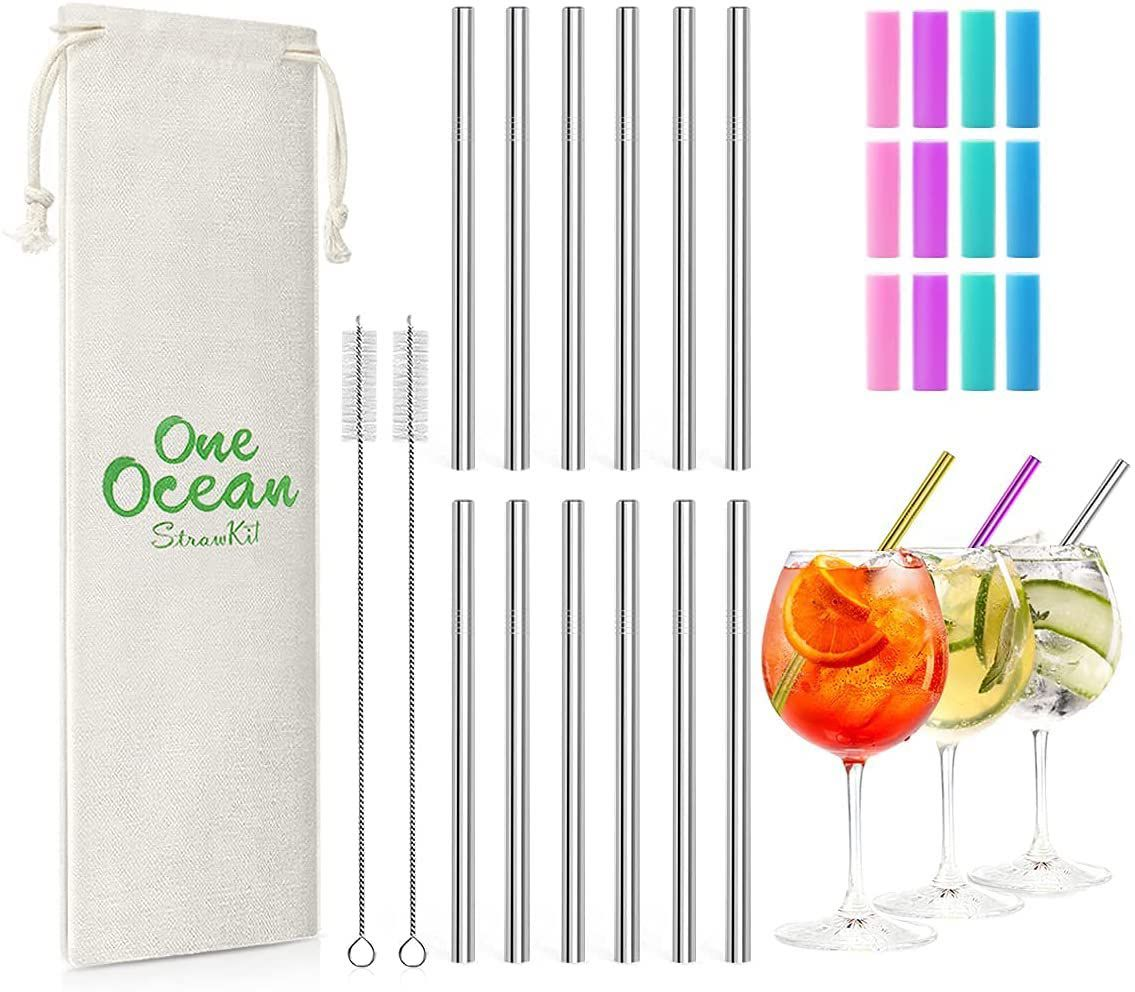 Teivio 12-Pack Extra Short Reusable Metal Drink Straws