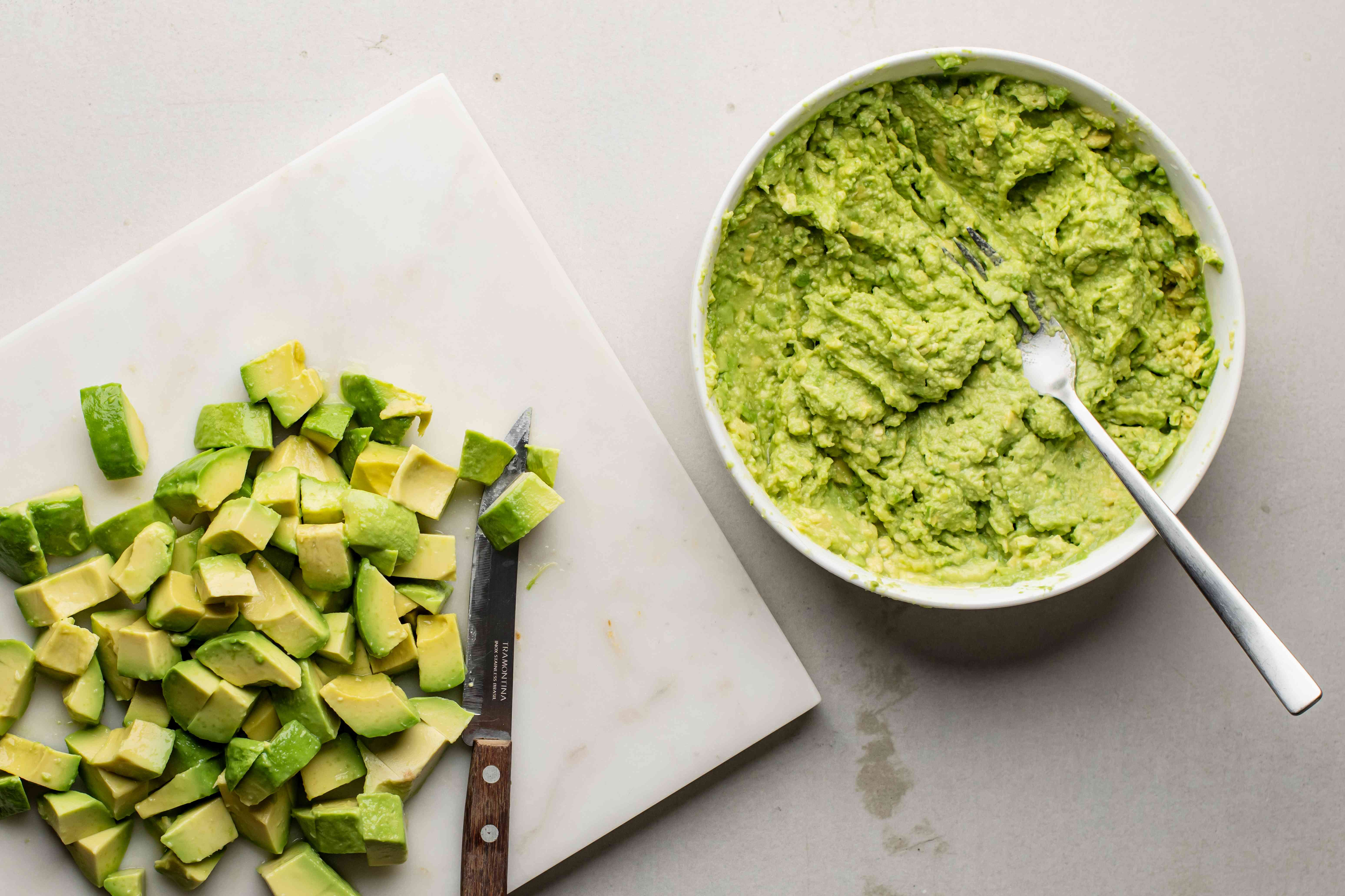 Mashed and dice avocados