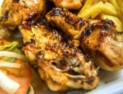 Chicken cooked in piri piri spice