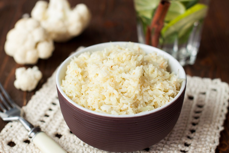 Bowl of diet paleo cauliflower rice