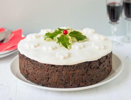Traditional British Christmas cake on a plate