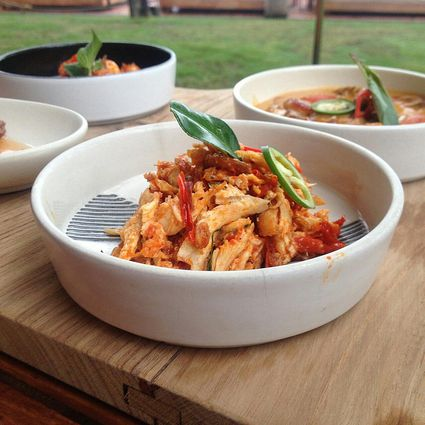 Shredded chicken In bowl on table