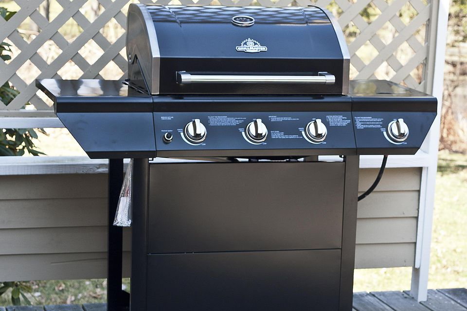 Gas grill on patio deck