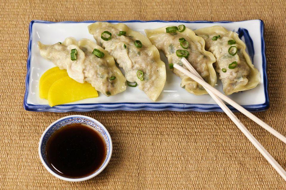 Steamed dumplings on a plate