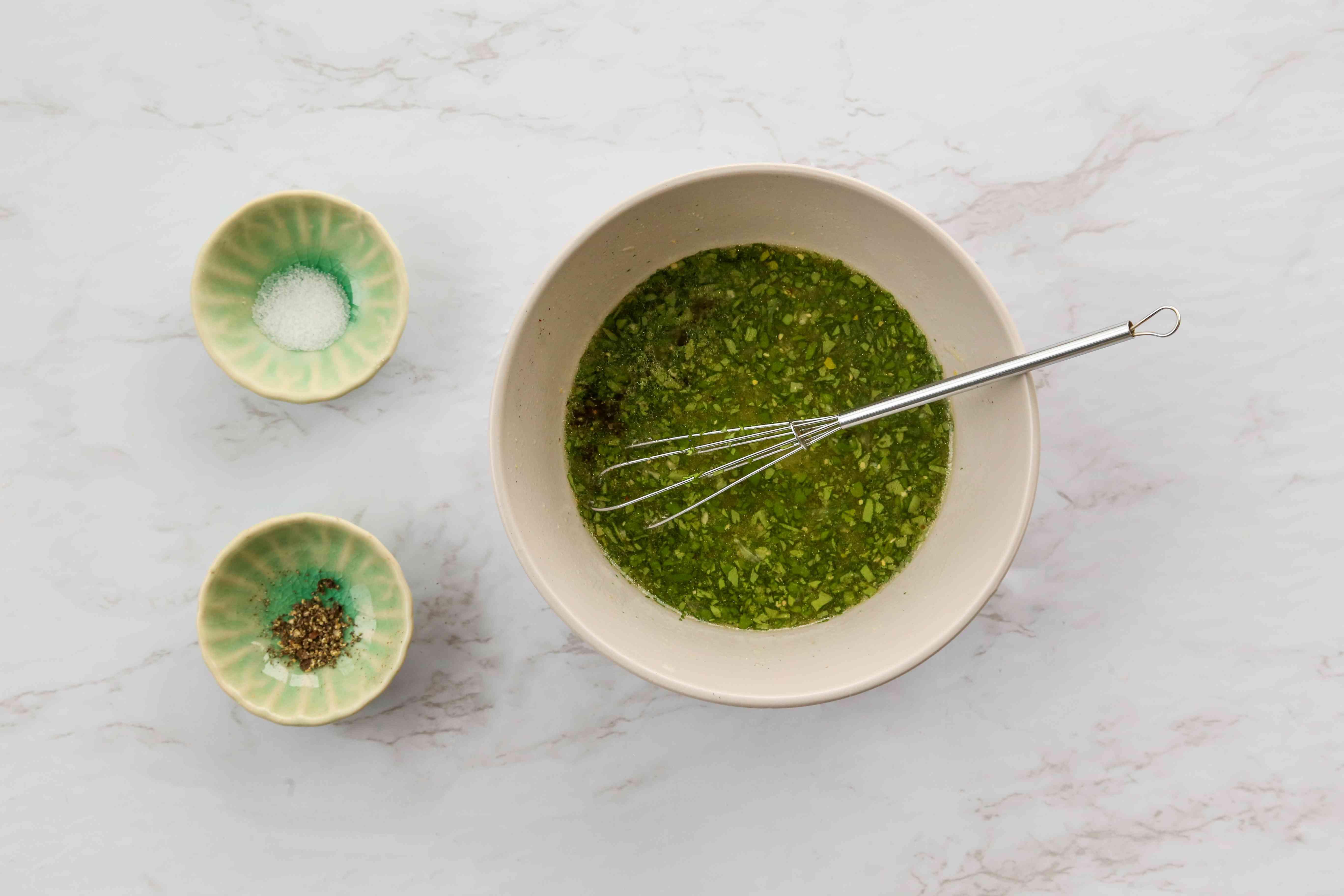Vegan Lemon Vinaigrette Dressing in a bowl