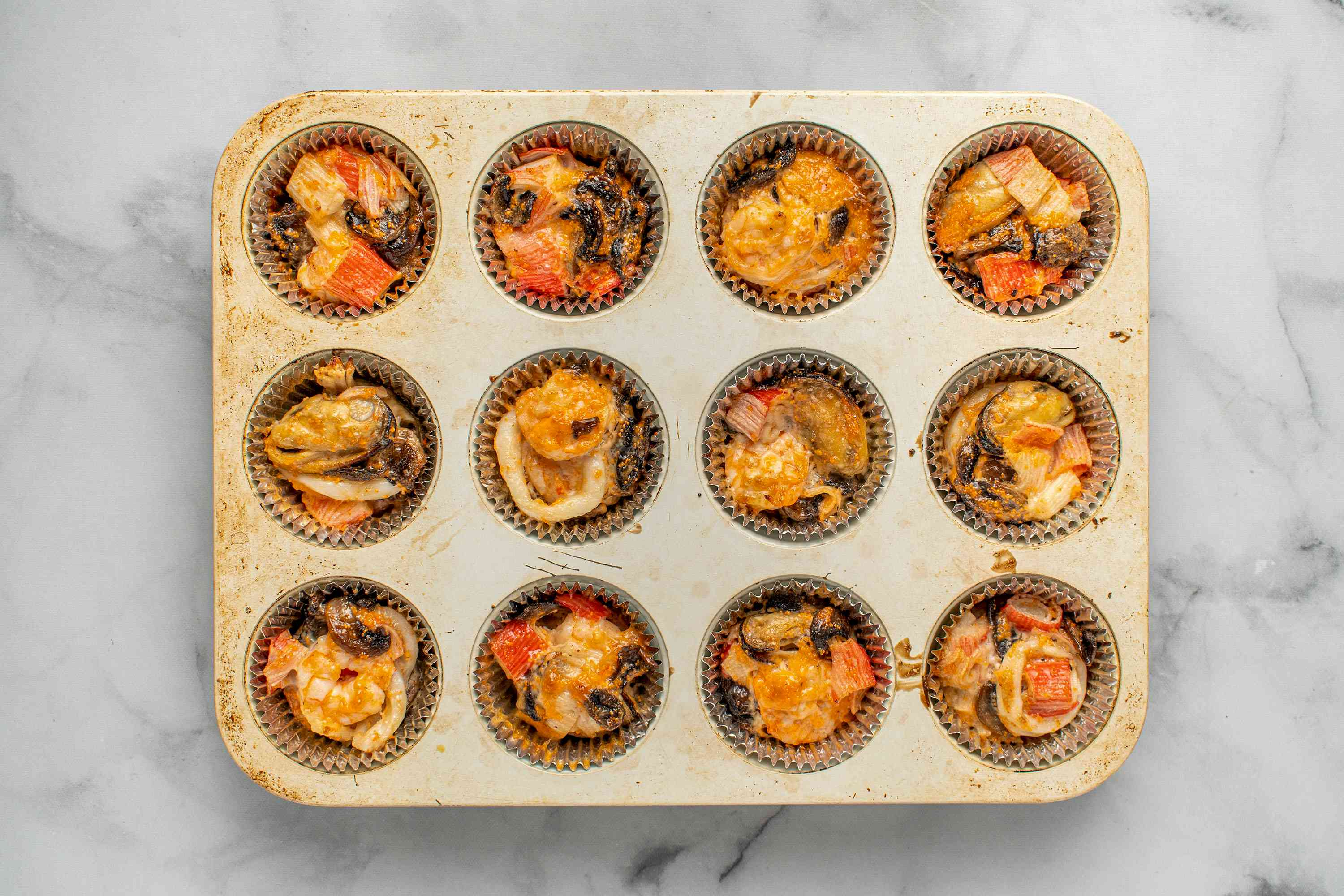 baked Japanese Baked Dynamite Appetizers in muffin tins
