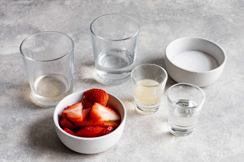 Strawberry Vodka Champagne Cocktail ingredients