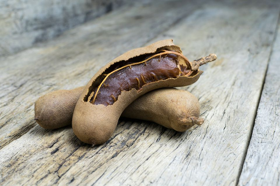 tamarind on grunge wooden background