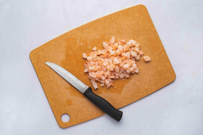 Diced shrimp on a cutting board