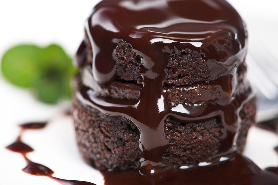 Warm Chocolate Cake with glaze drizzled over