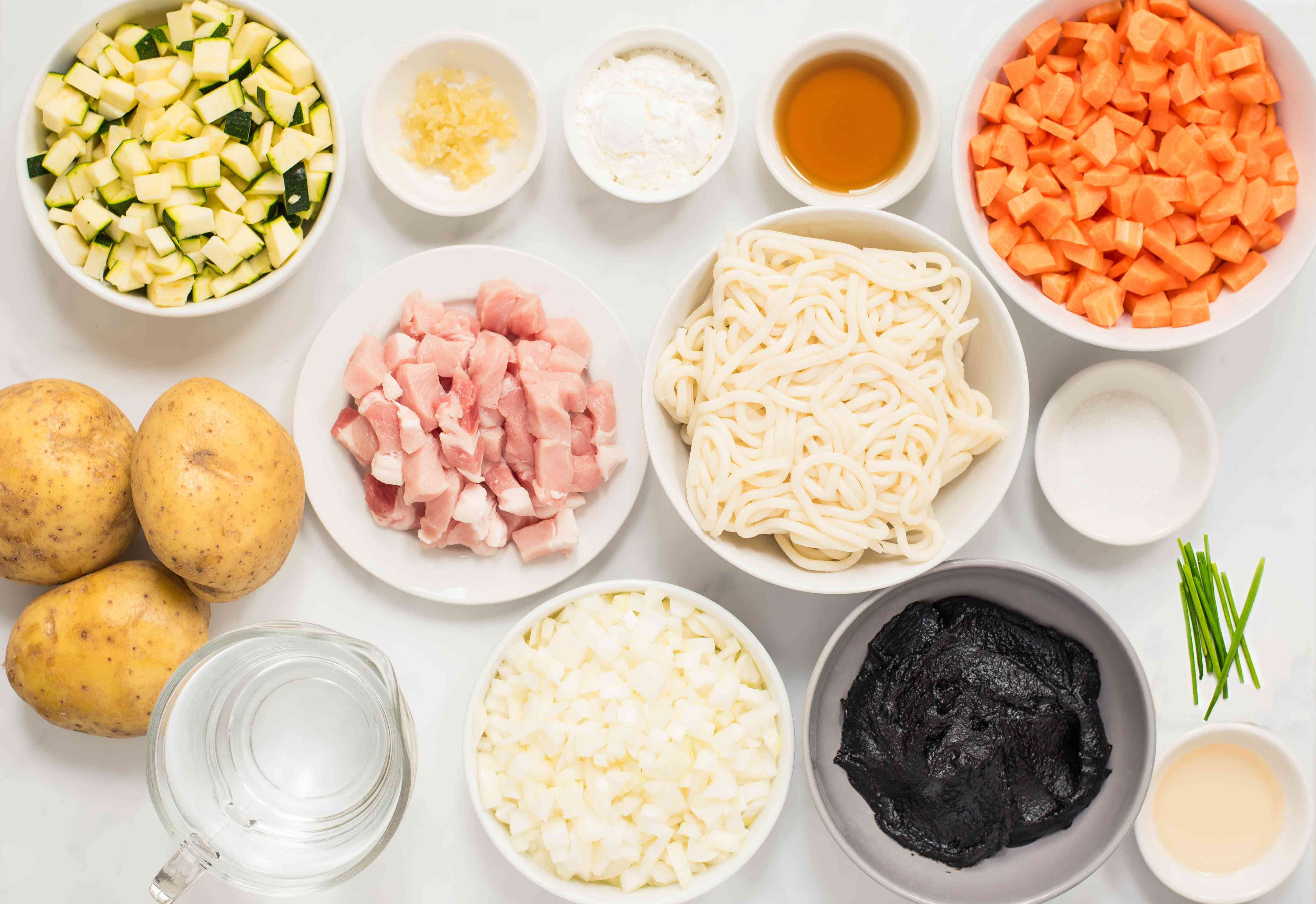 Ingredients for Korean noodles with black bean sauce