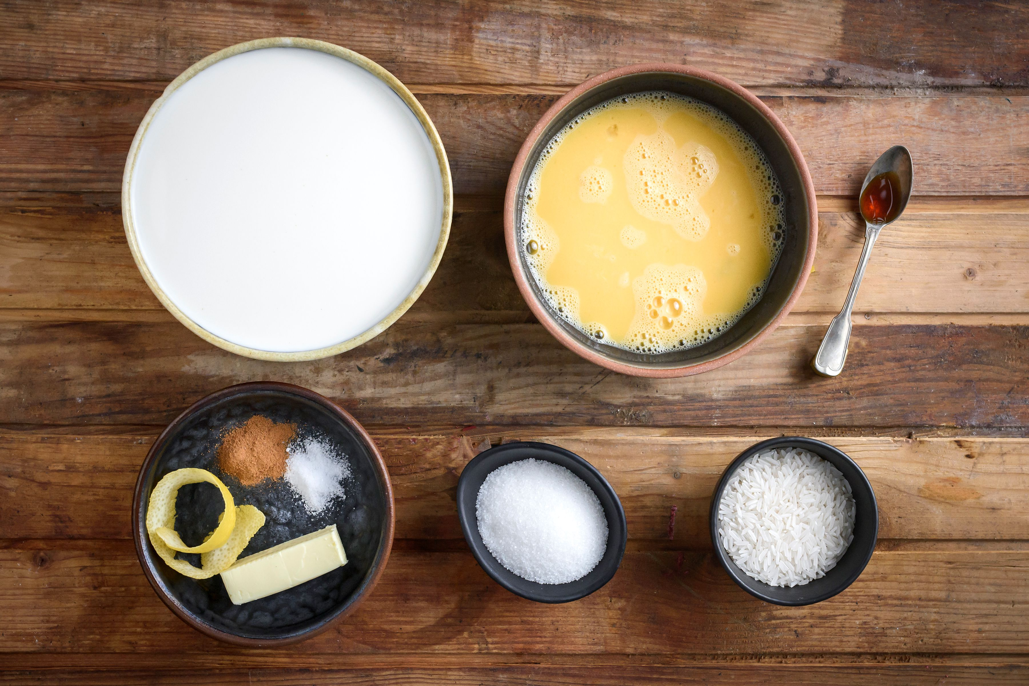 Ingredients for Greek rice pudding