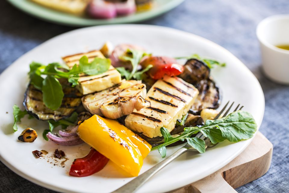 Grilled Halloumi Cheese with Aubergine, Pepper, Garlic and Rocket salad