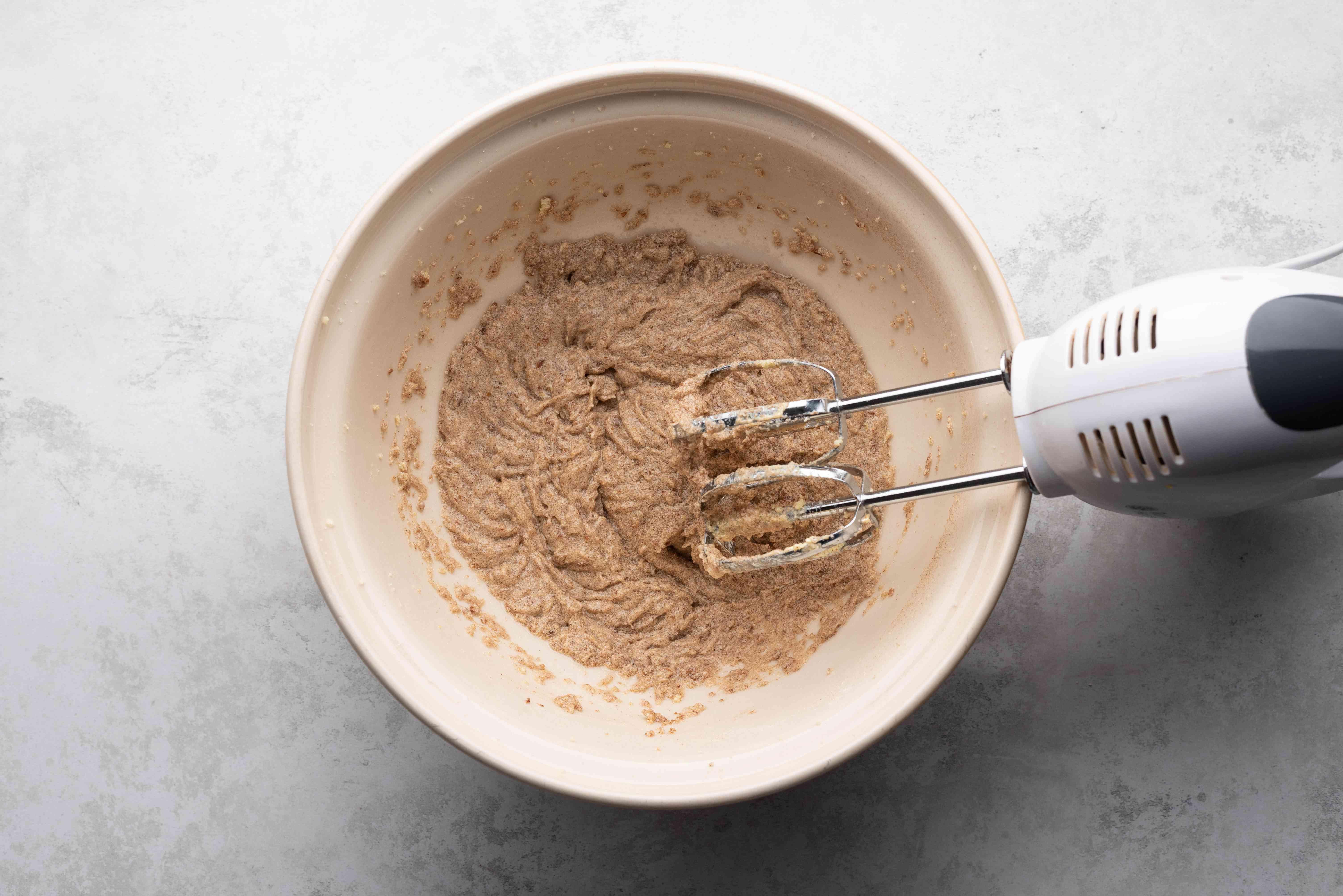 flaxseed meal, vanilla extract, salt, cinnamon, and baking powder in a bowl, hand mixer