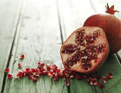 A halved pomegranate