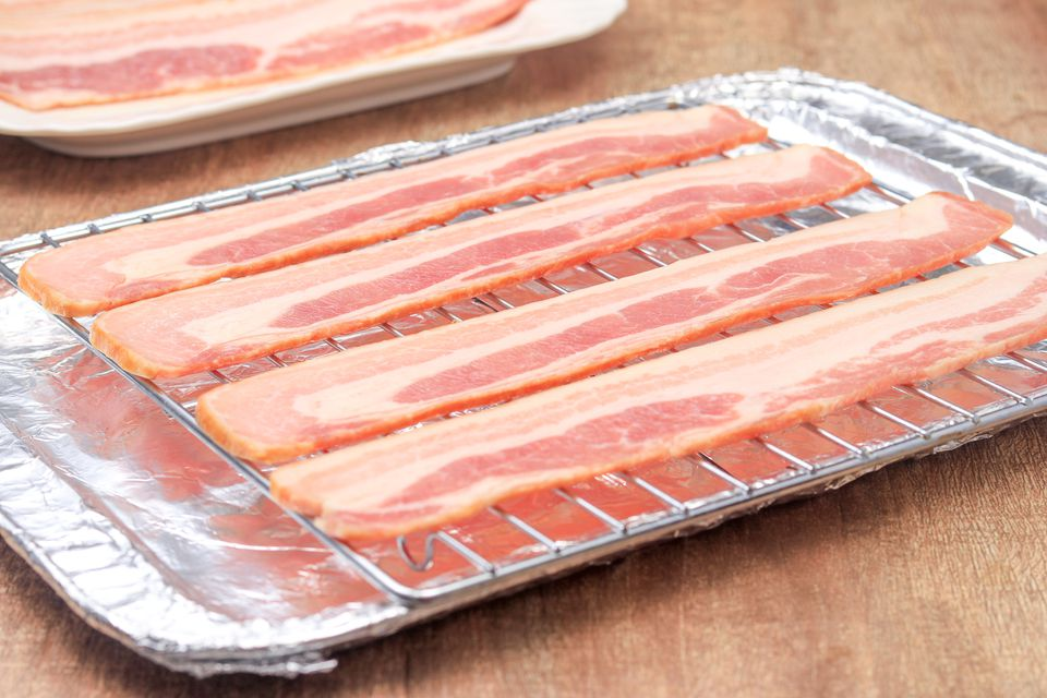 Bacon on a cooling rack.