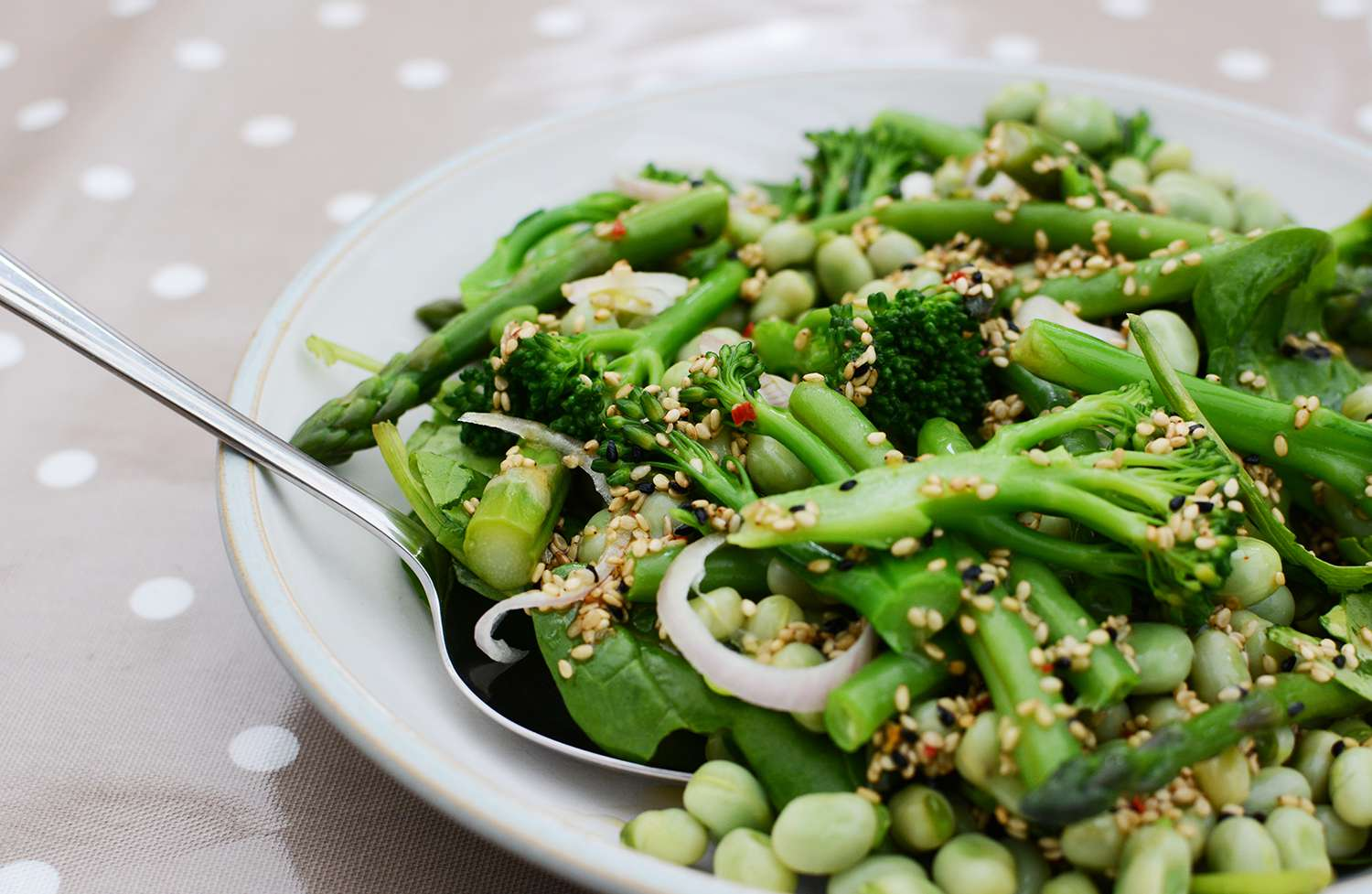 Serving spoon in a spring salad of broccolini and beans