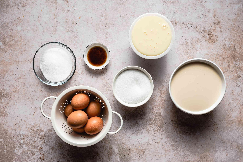 Ingredients for caramel flan