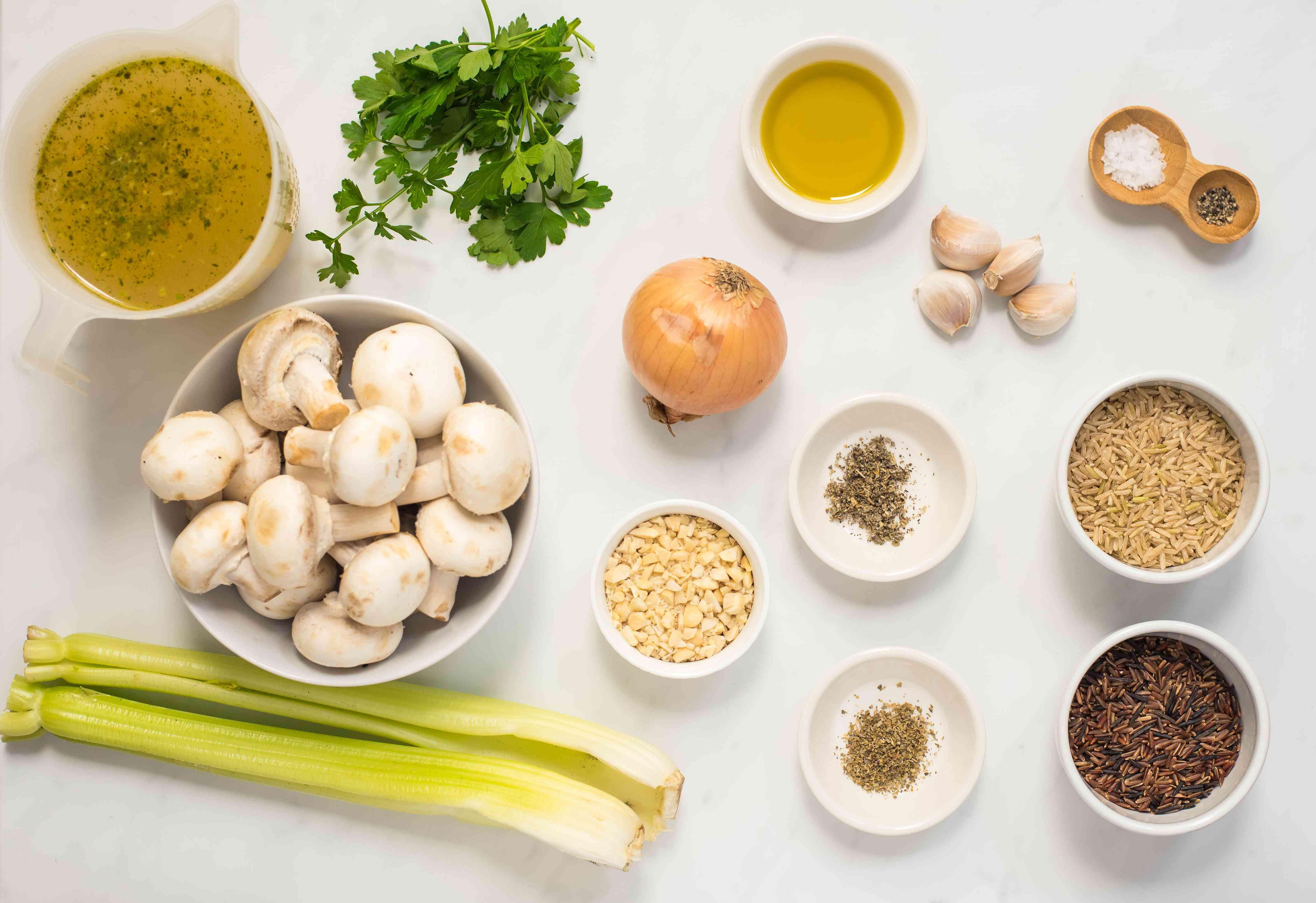 Ingredients for vegetarian wild rice and mushroom pilaf