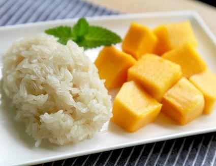 Sticky rice and mango, a Thai dessert