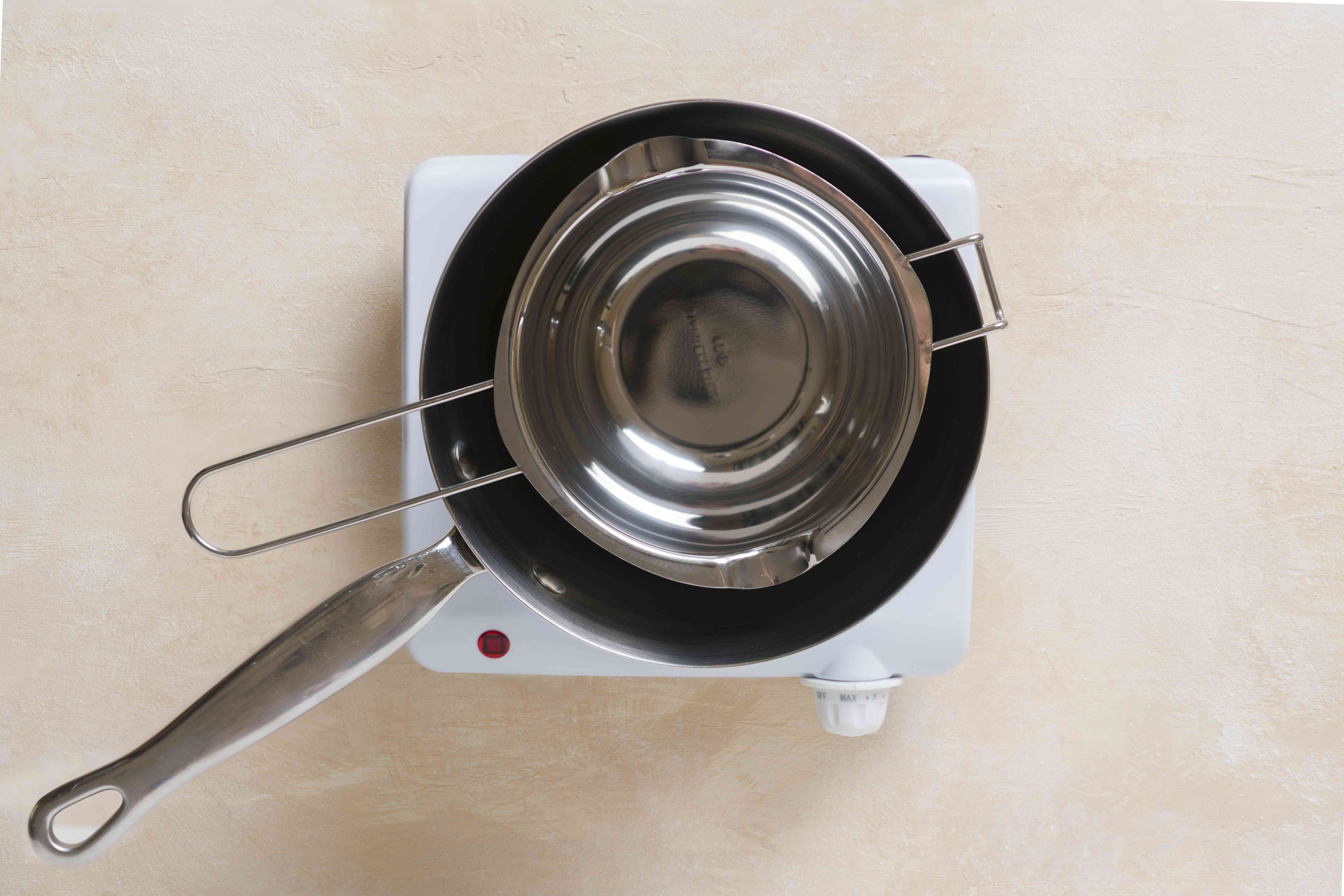 water in a double boiler