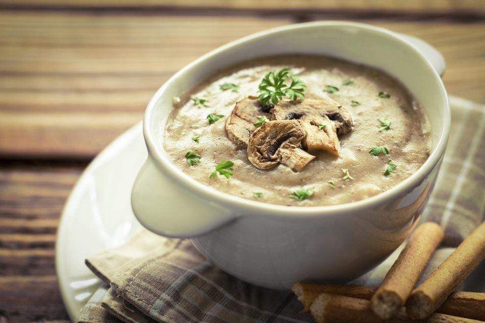 Receta de sopa de champiñones con crema sin gluten