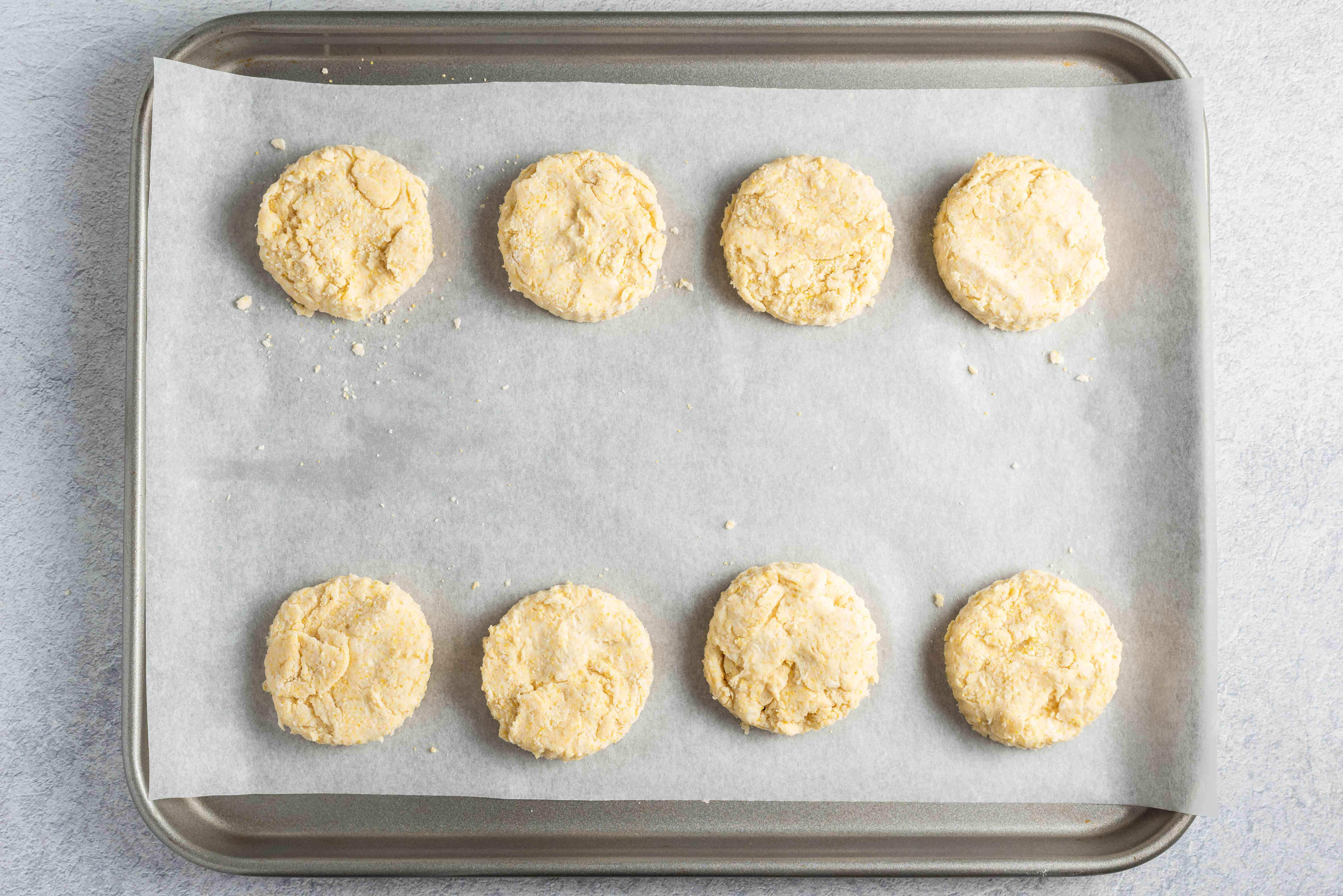 Place biscuit dough on prepared baking sheet
