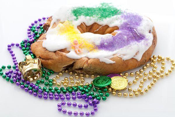 Mardi Gras king cake with beads
