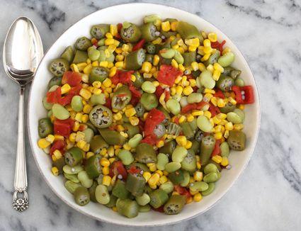 okra, corn, lima bean succotash with tomatoes