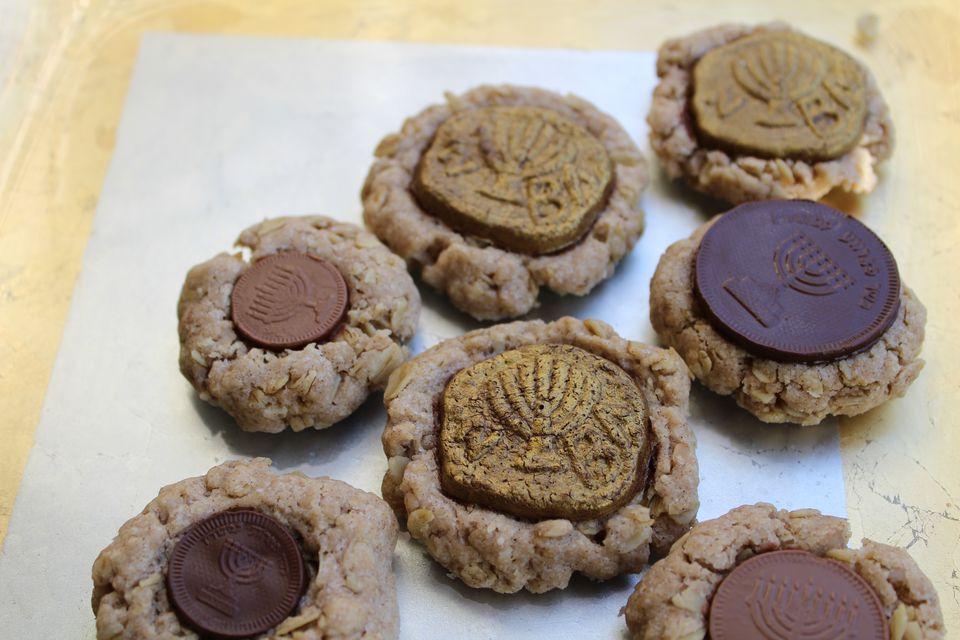 Hanukkah Gelt Thumbprint Cookies
