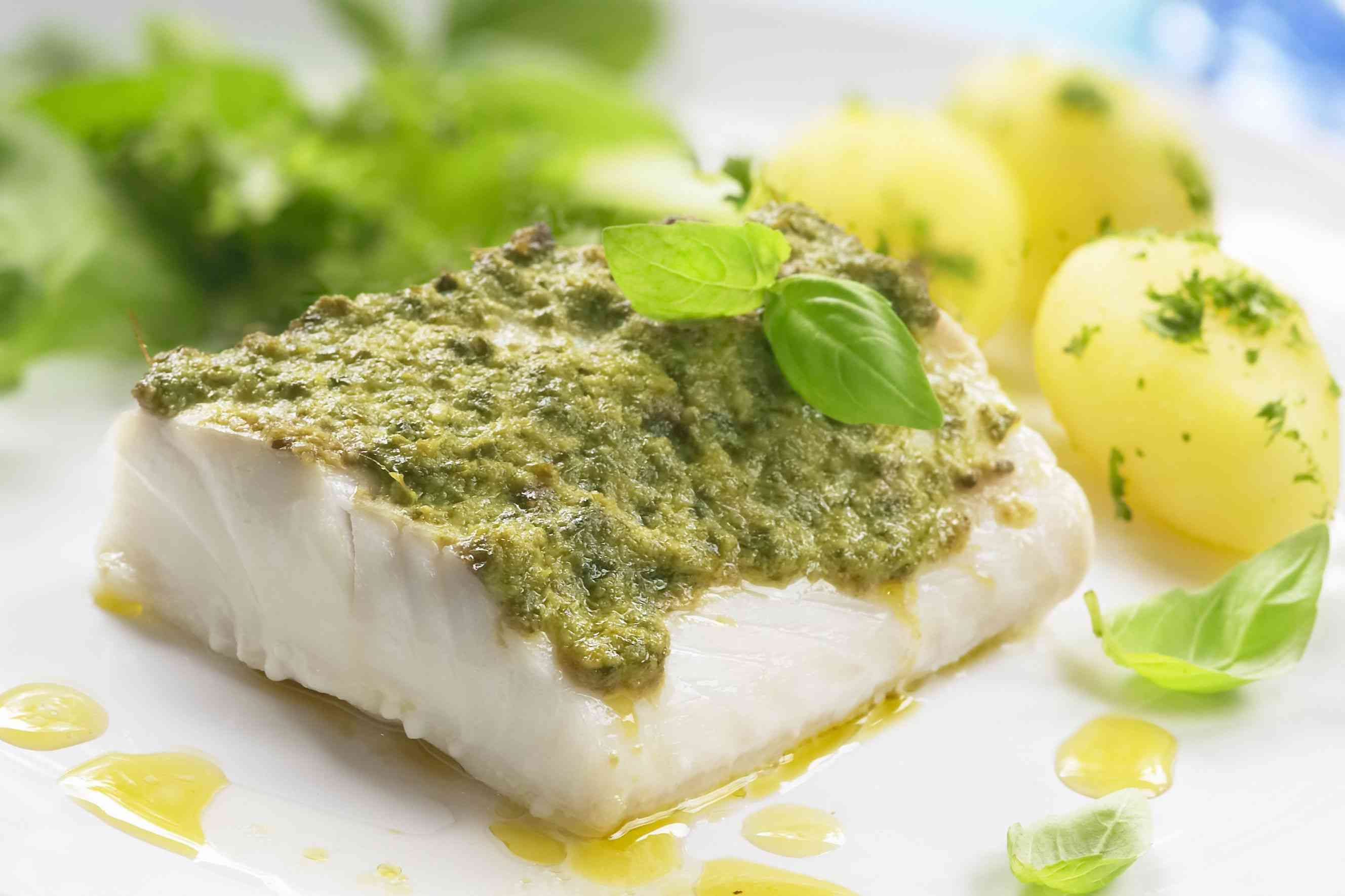 fish fillet with pesto