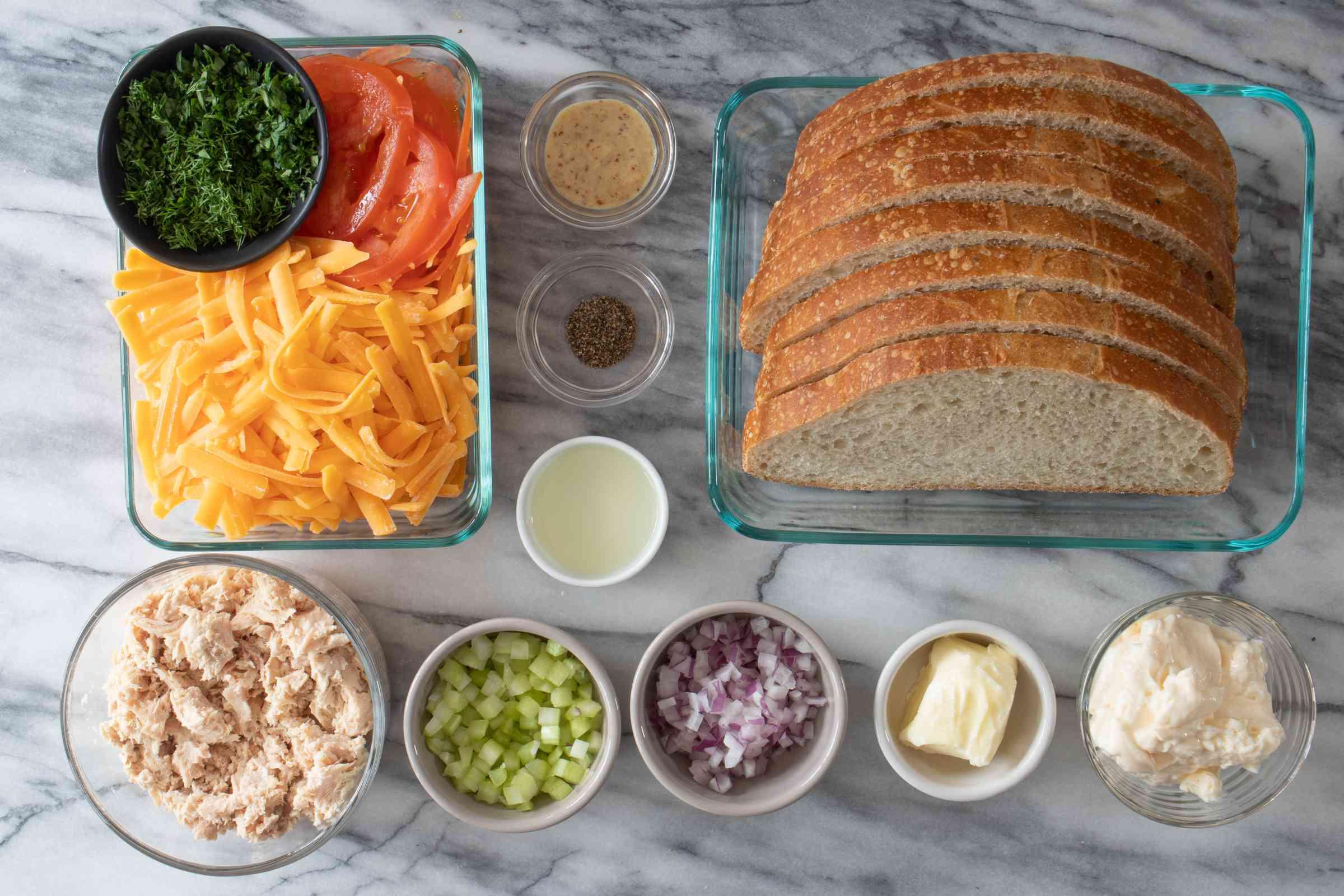 ingredients for tuna melt sandwiches
