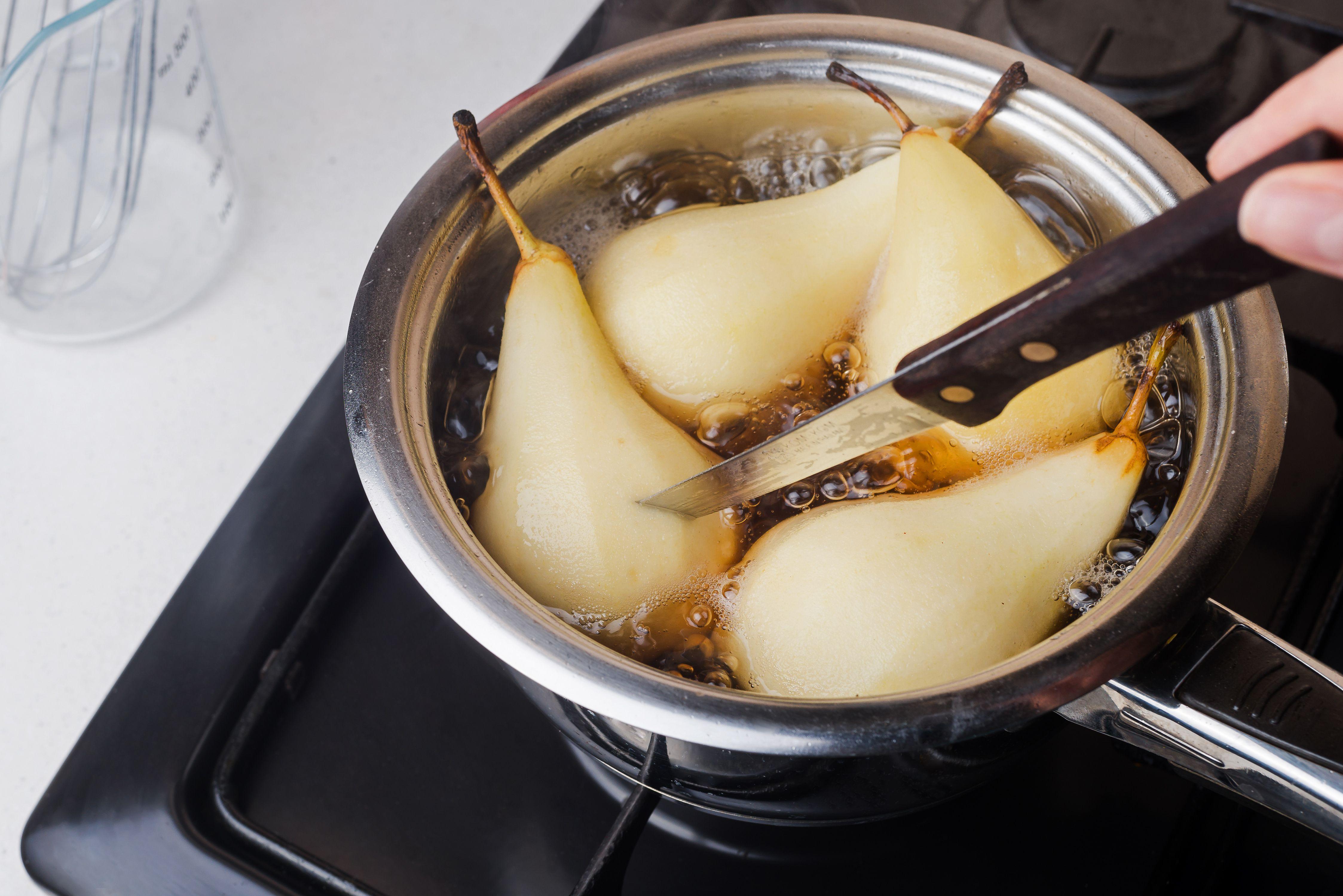 Add prepared pears to sugar