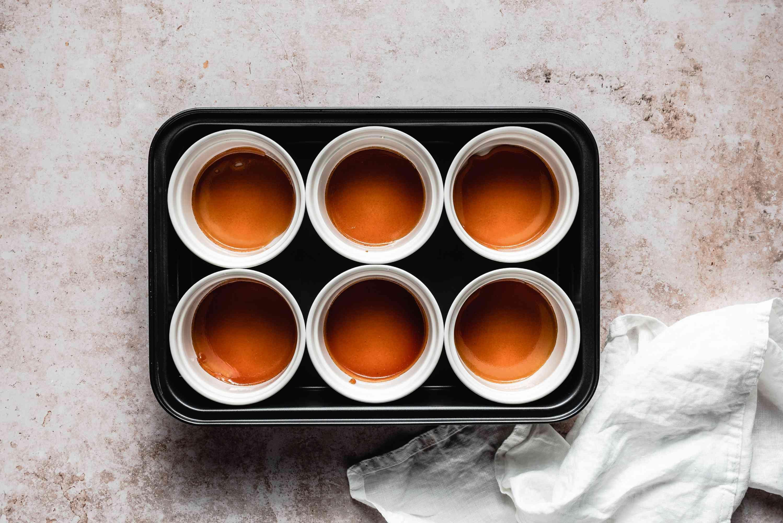 Caramel poured into ramekins